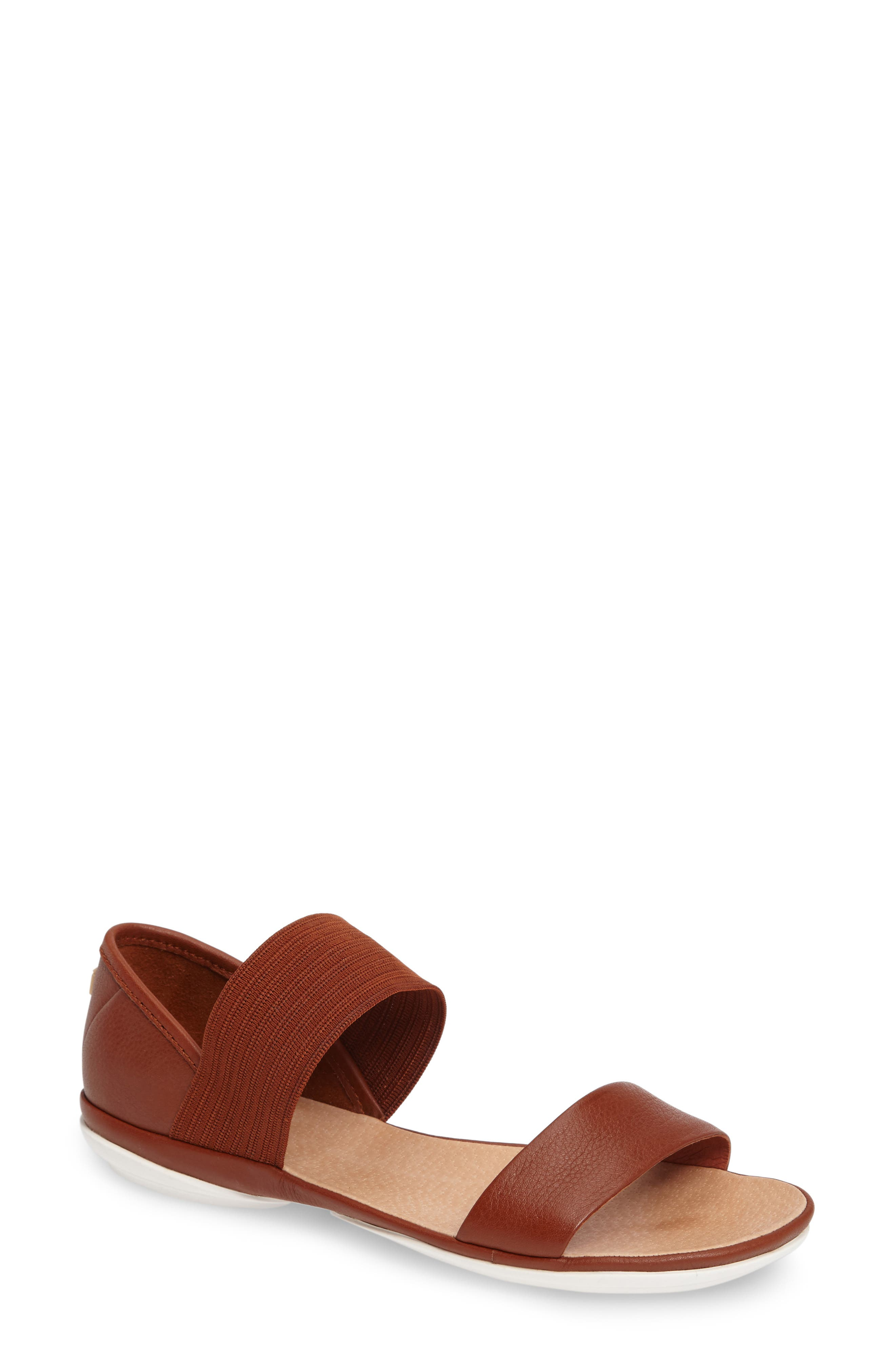 'Right Nina' Sandal,                             Main thumbnail 1, color,                             Brown Leather