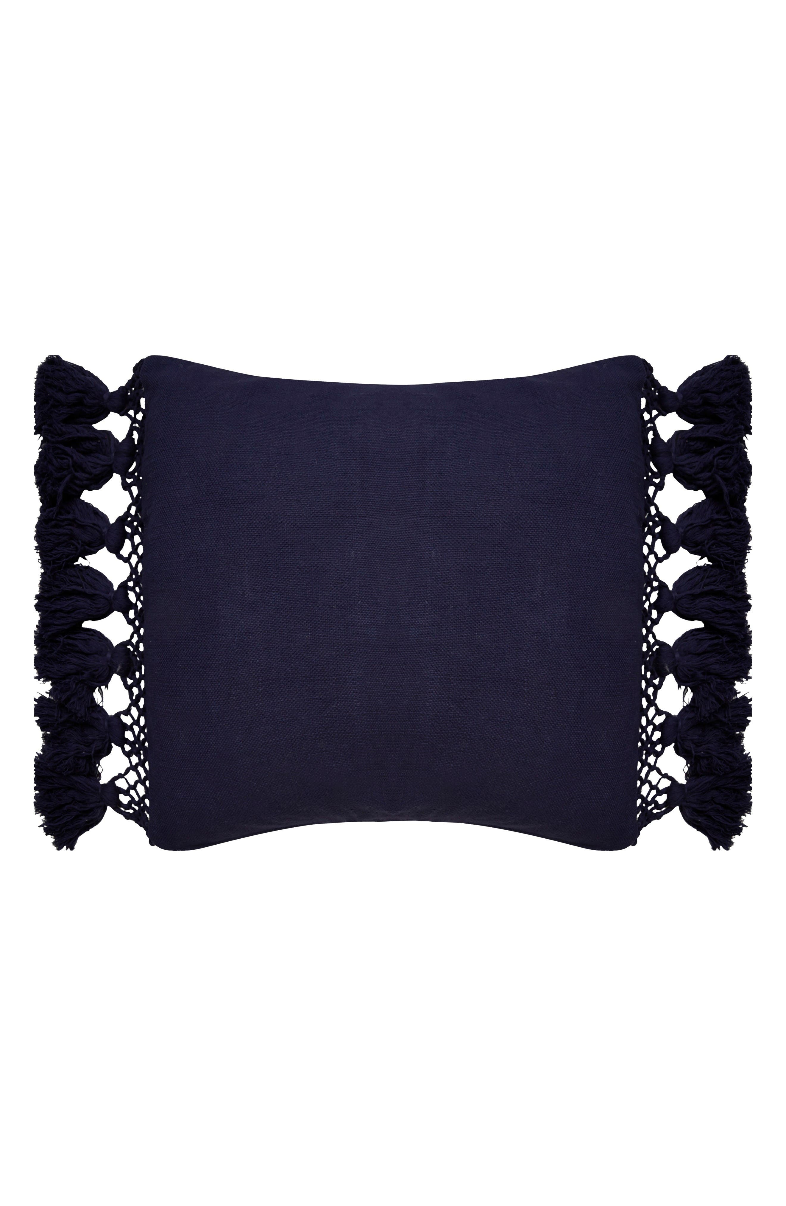 tassel accent pillow,                         Main,                         color, Navy