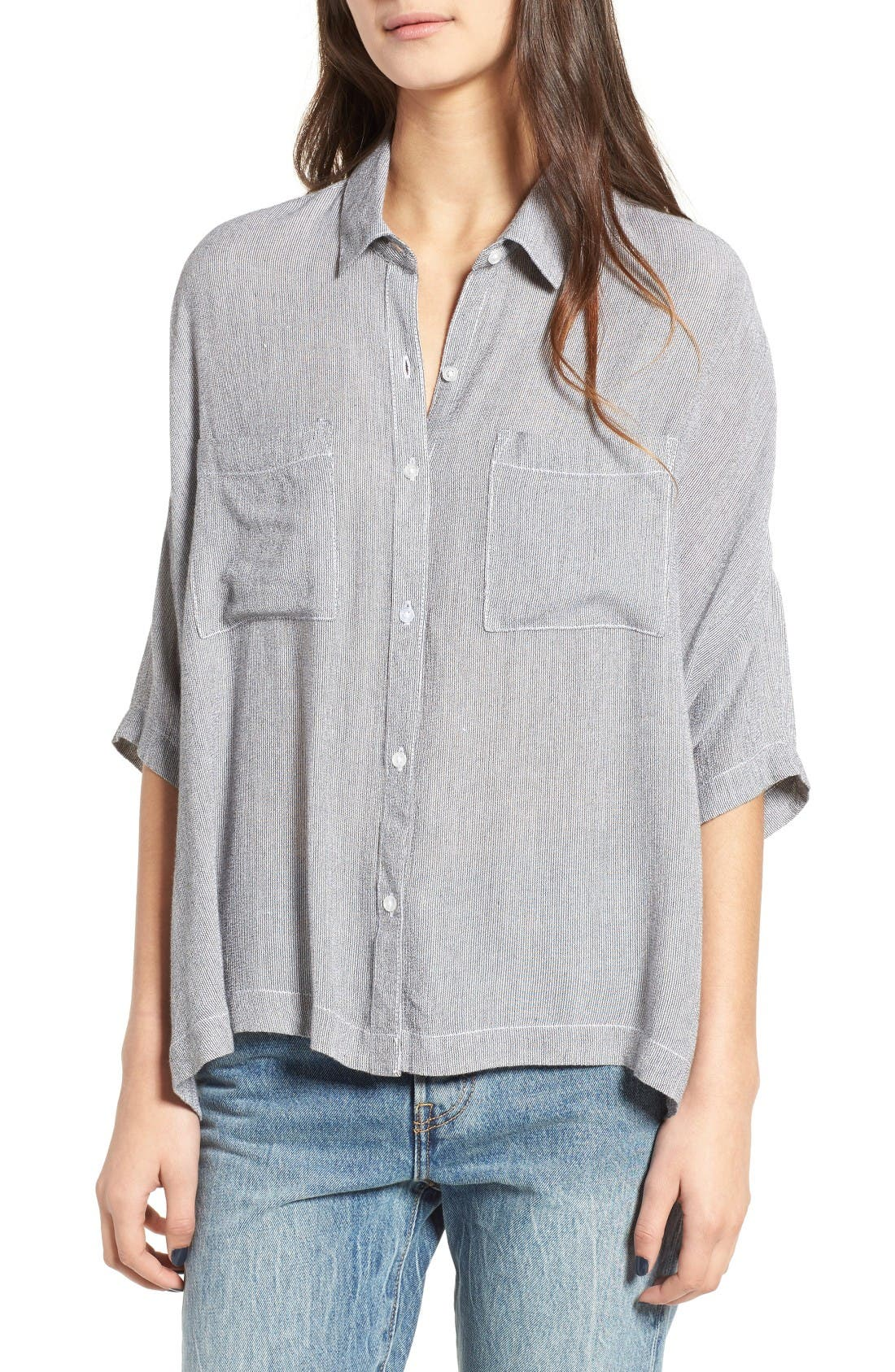 Stripe Slouchy Shirt,                         Main,                         color, White Game On Stripe