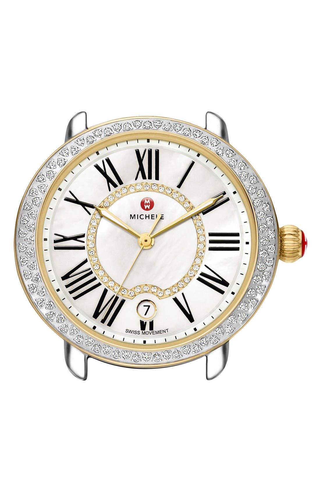 Serein 16 Diamond Watch Case, 34mm x 36mm,                             Main thumbnail 1, color,                             Gold/ Silver