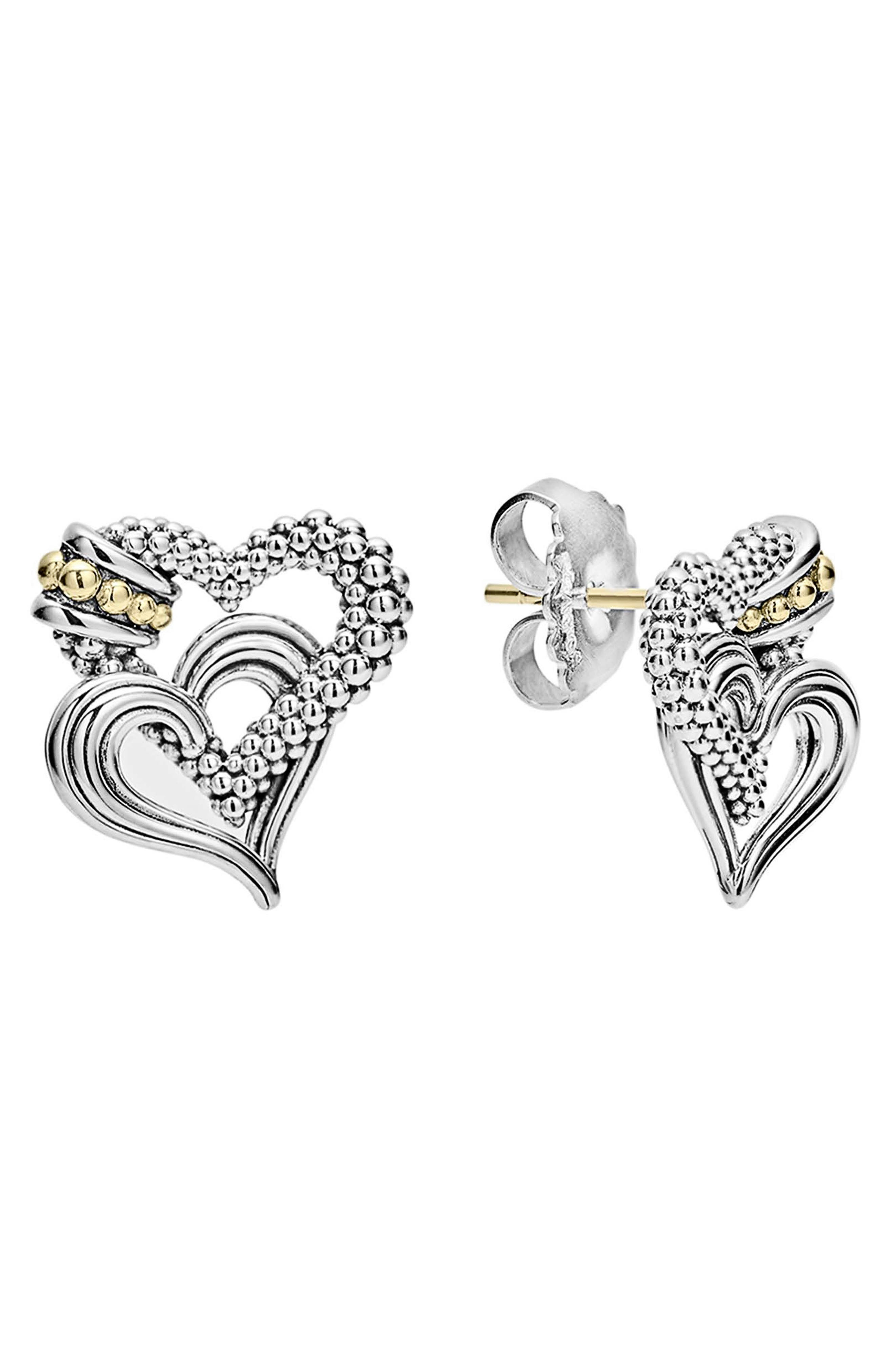 Beloved Stud Earrings,                             Main thumbnail 1, color,                             Sterling Silver