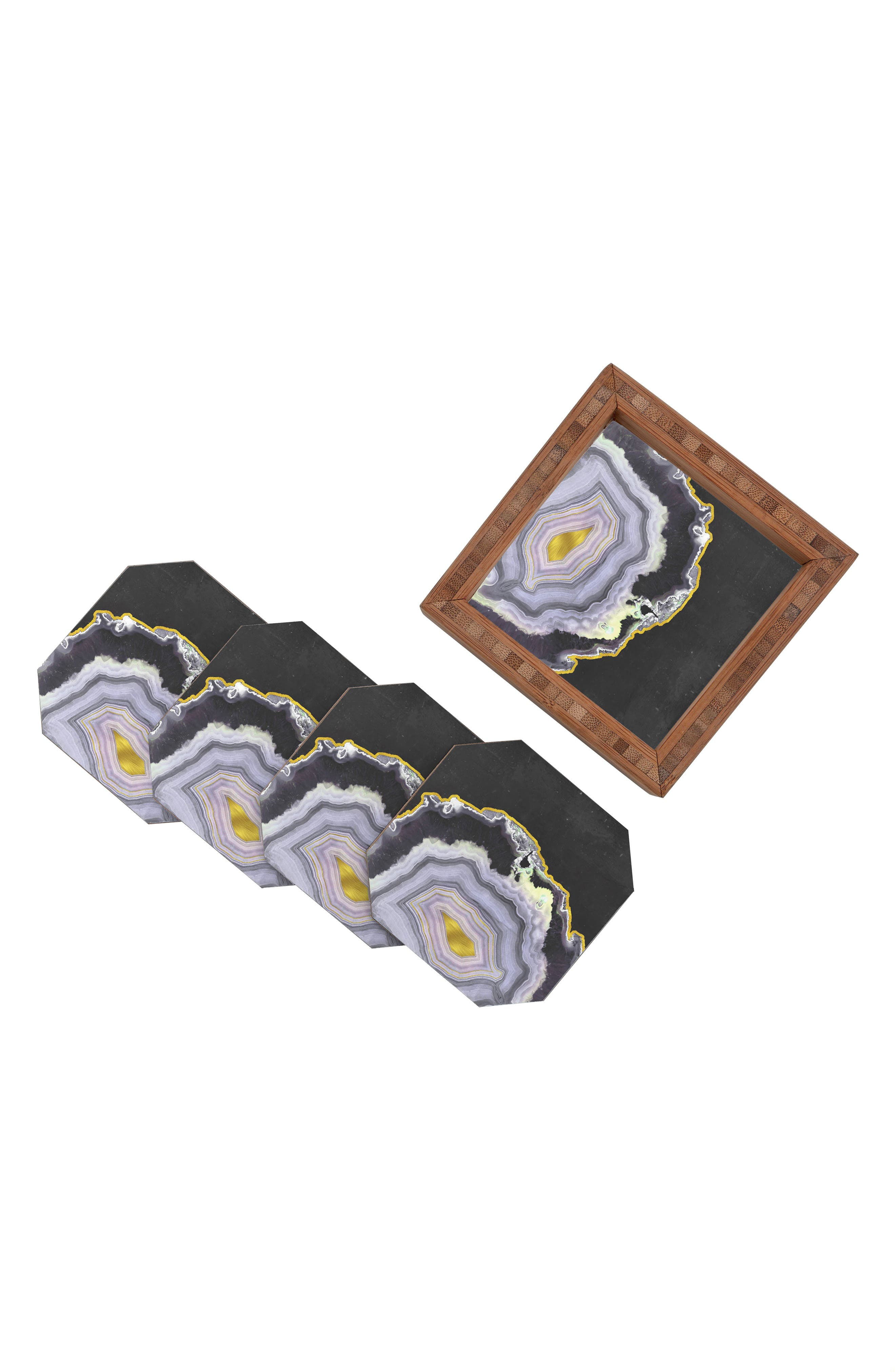 Black Agate Set of 4 Coasters,                             Alternate thumbnail 2, color,                             Multi