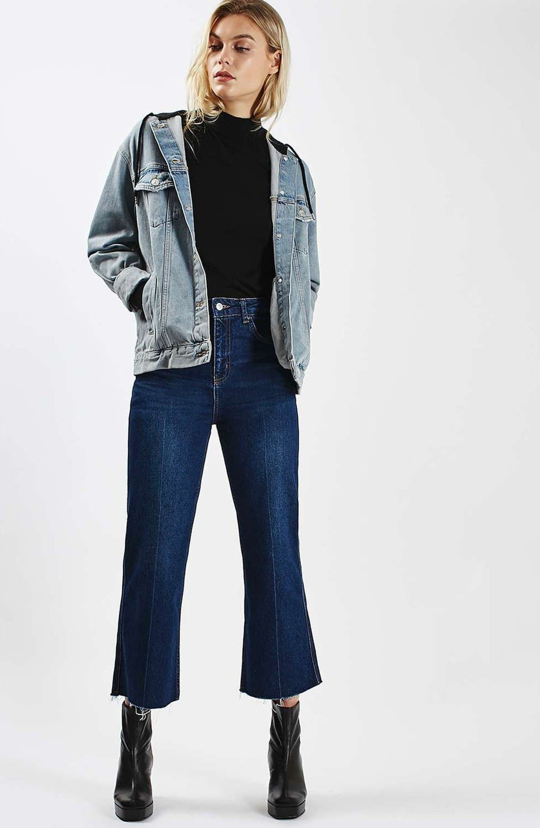 Alternate Image 2  - Topshop Hooded Denim Jacket
