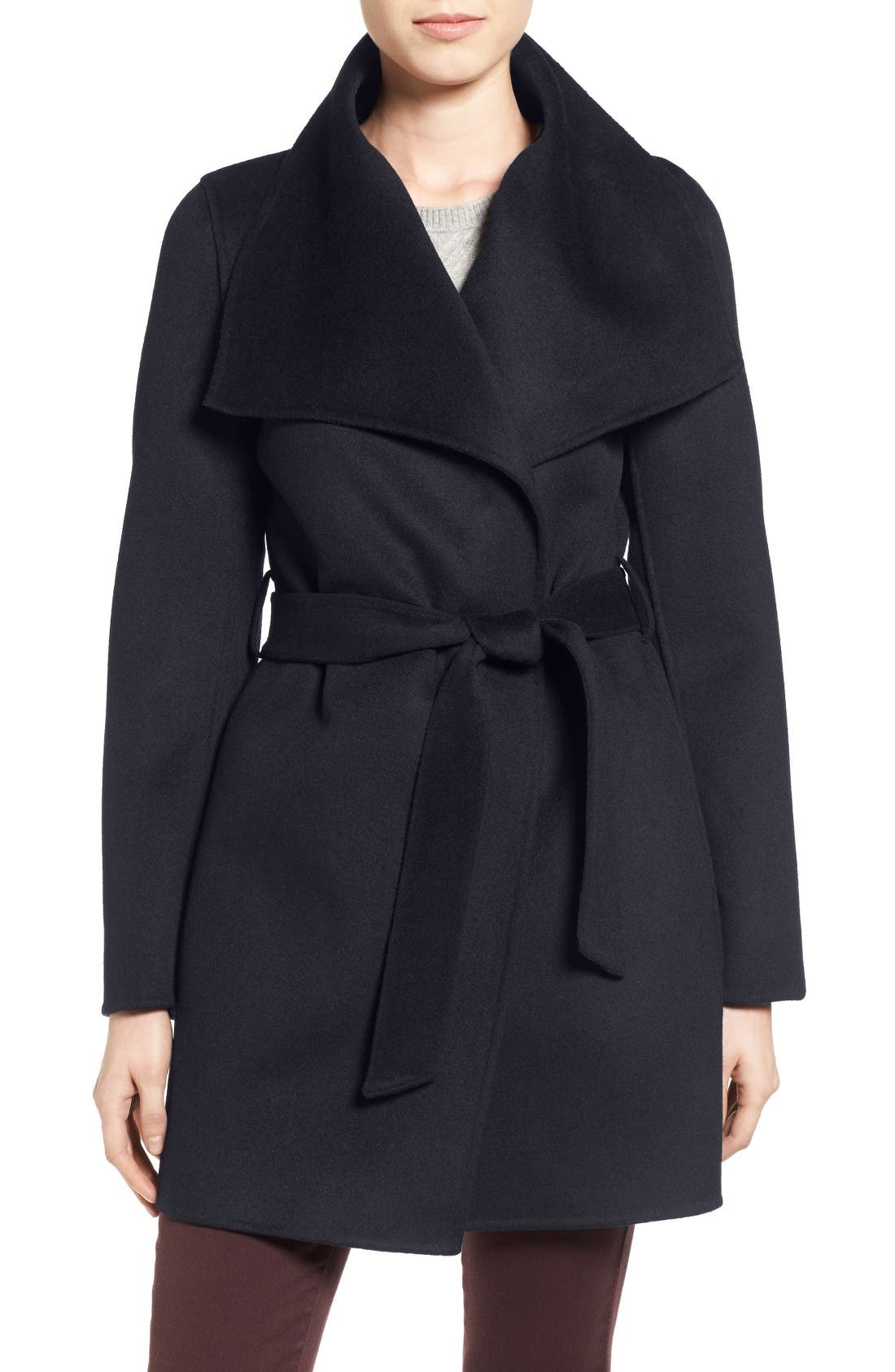 'Ella' Belted Double Face Wool Blend Wrap Coat,                         Main,                         color, Navy