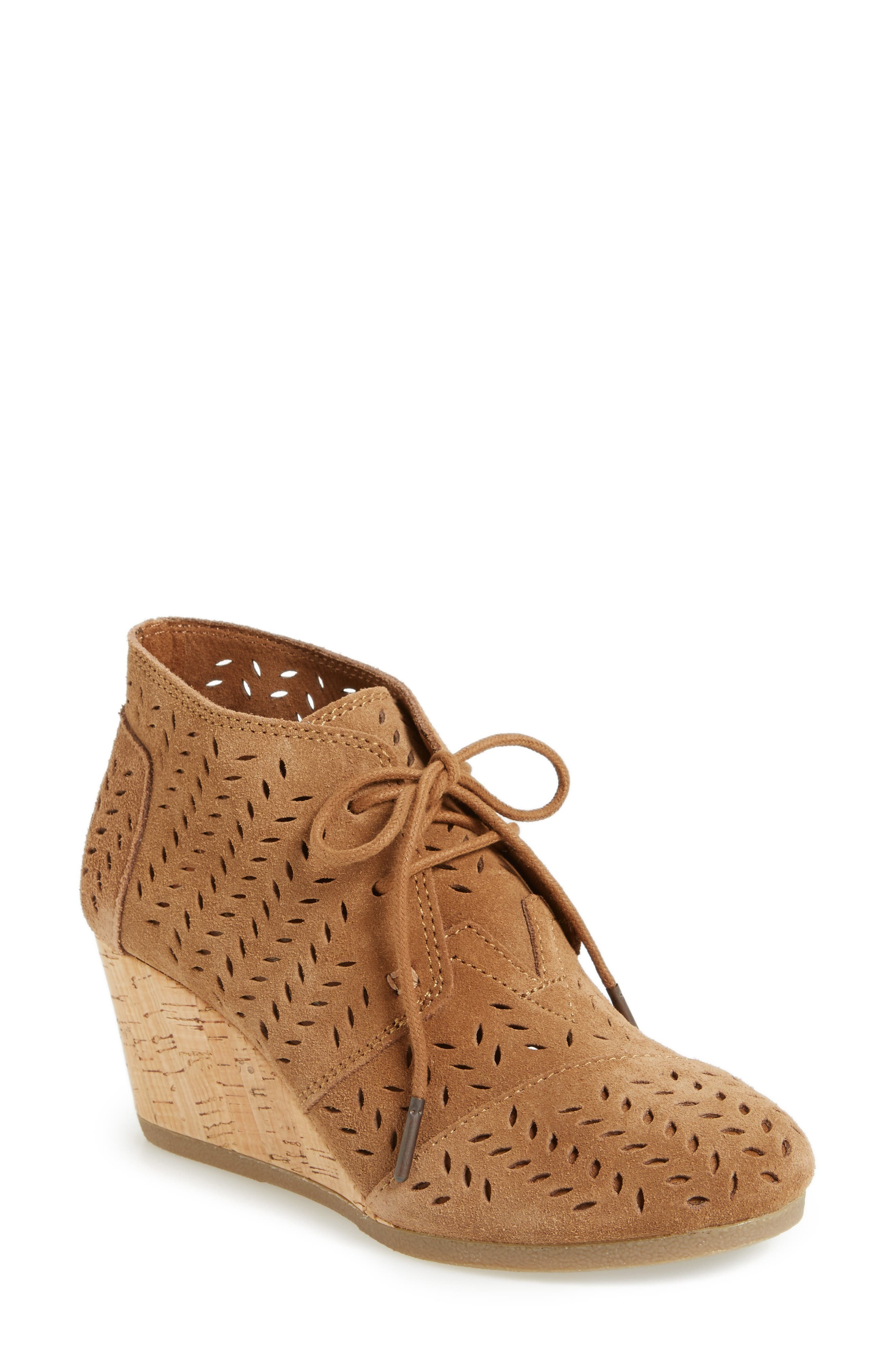 Alternate Image 1 Selected - TOMS Perforated Chukka Wedge Boot (Women)