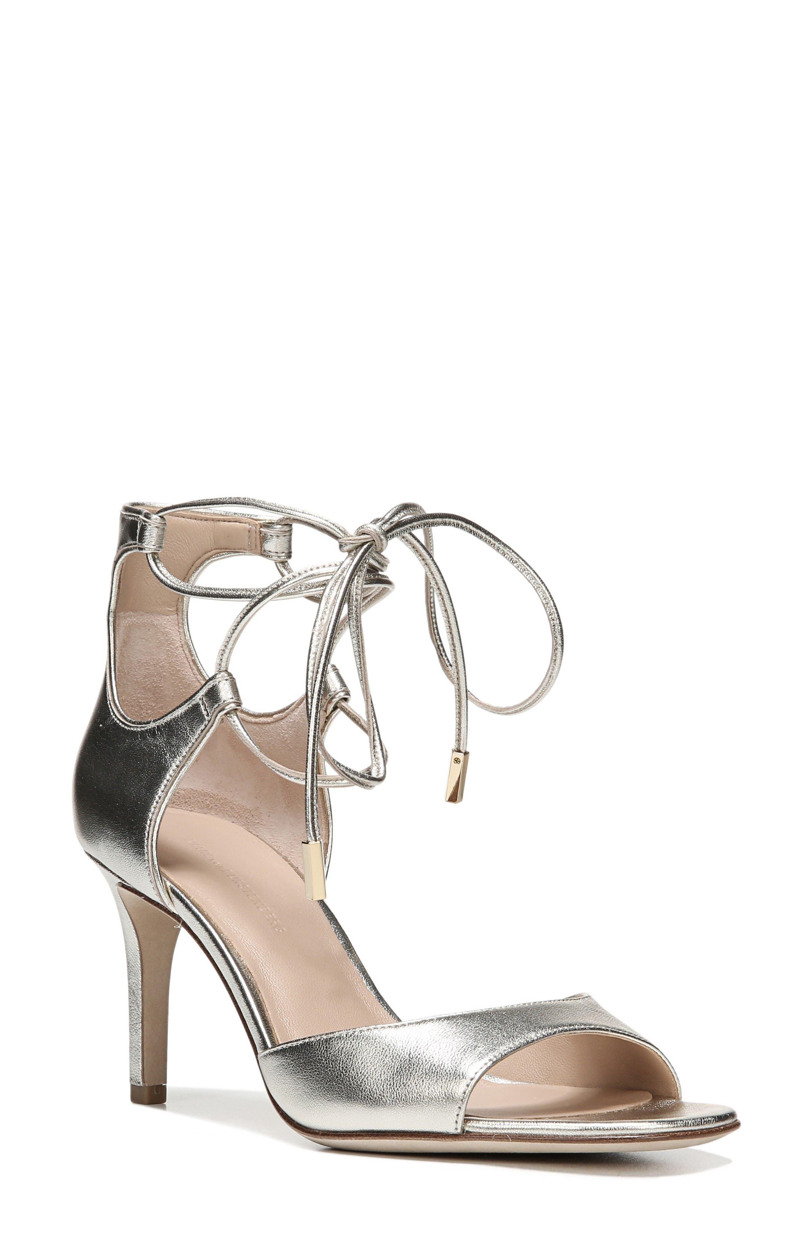 'Rimini' Ankle Wrap Sandal,                             Main thumbnail 1, color,                             Platino