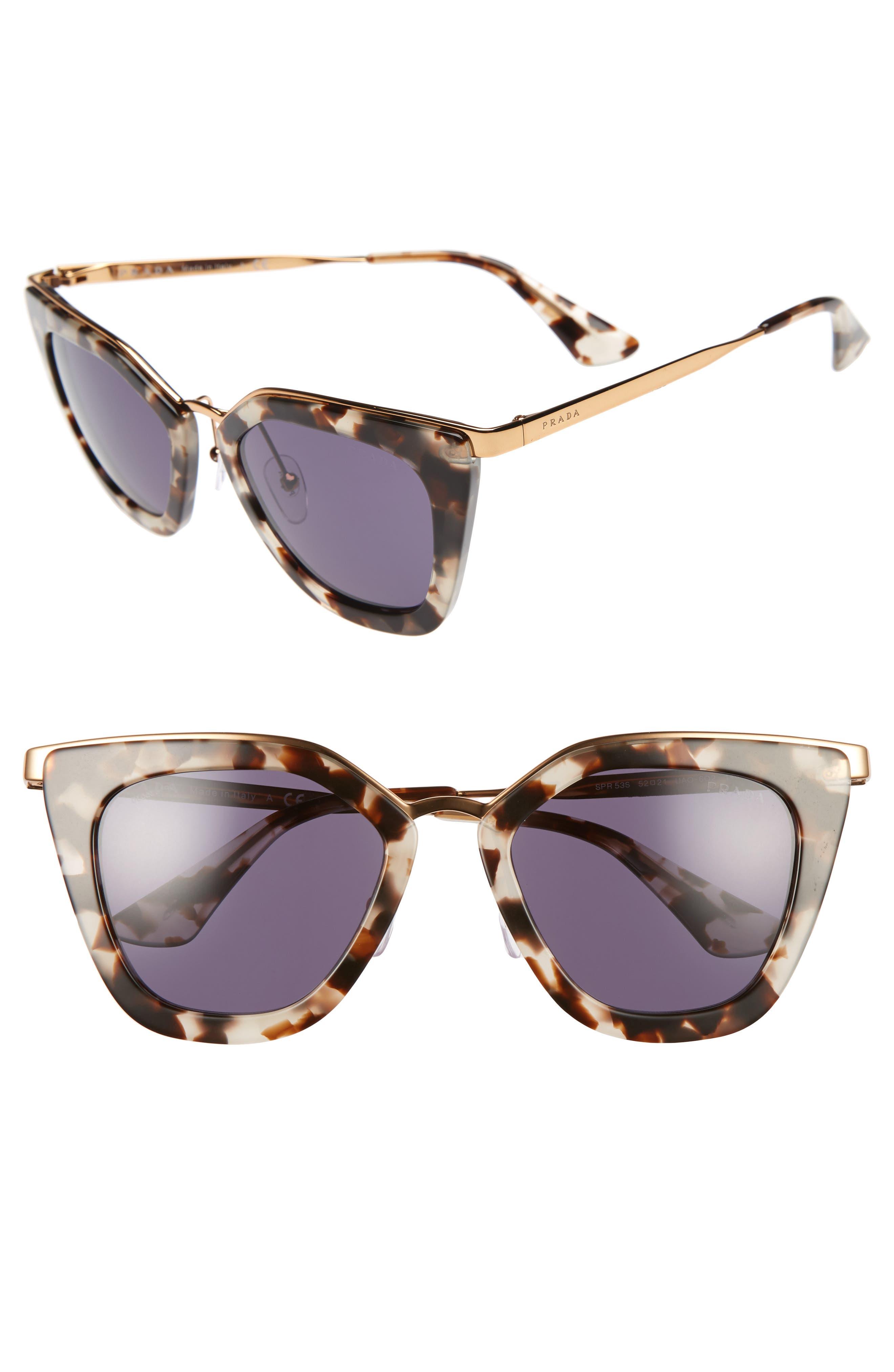 52mm Layered Frame Sunglasses,                         Main,                         color, White Havana