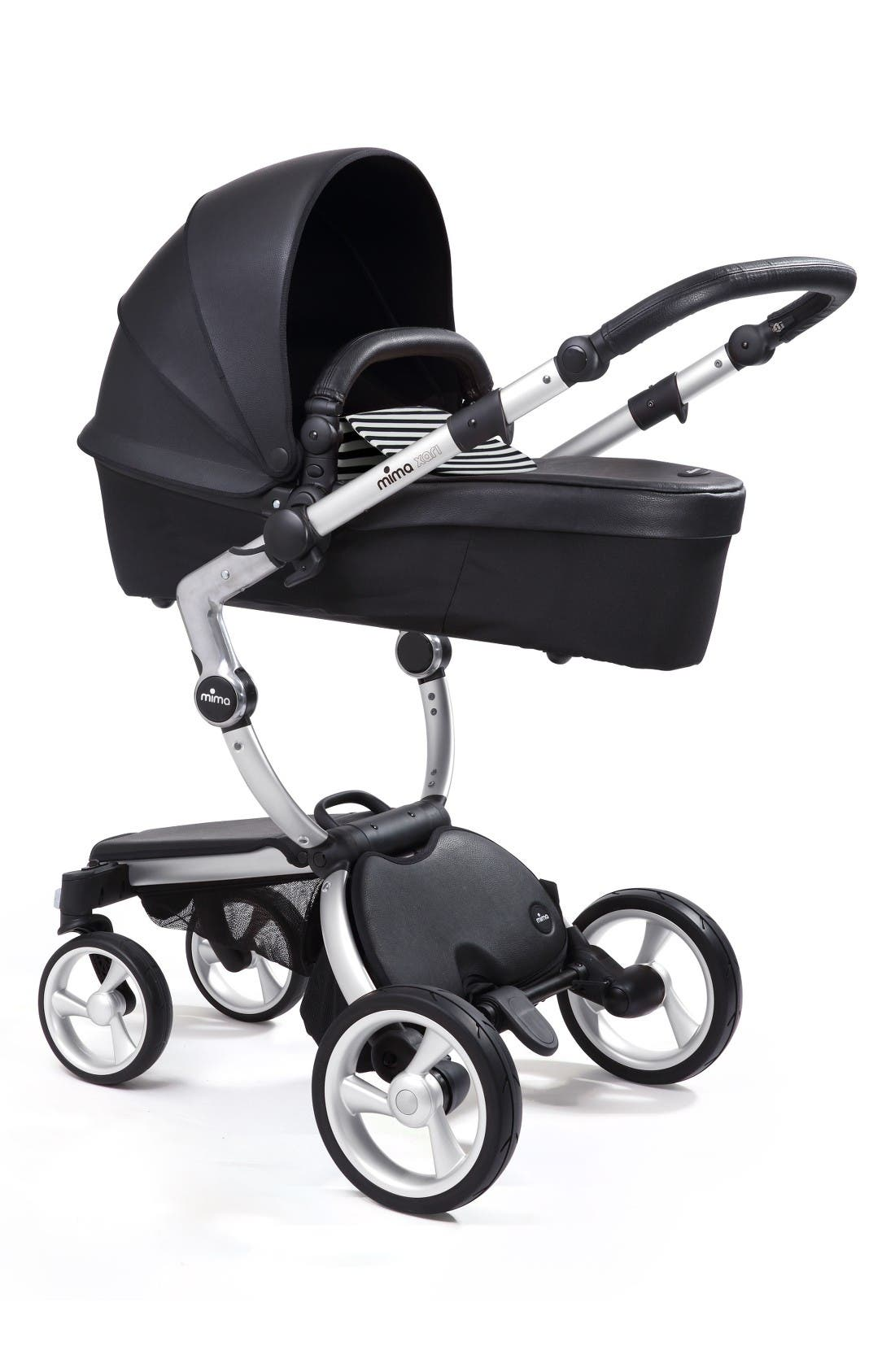 Xari Aluminum Chassis Stroller with Reversible Reclining Seat & Carrycot,                             Alternate thumbnail 4, color,                             Black / Black And White
