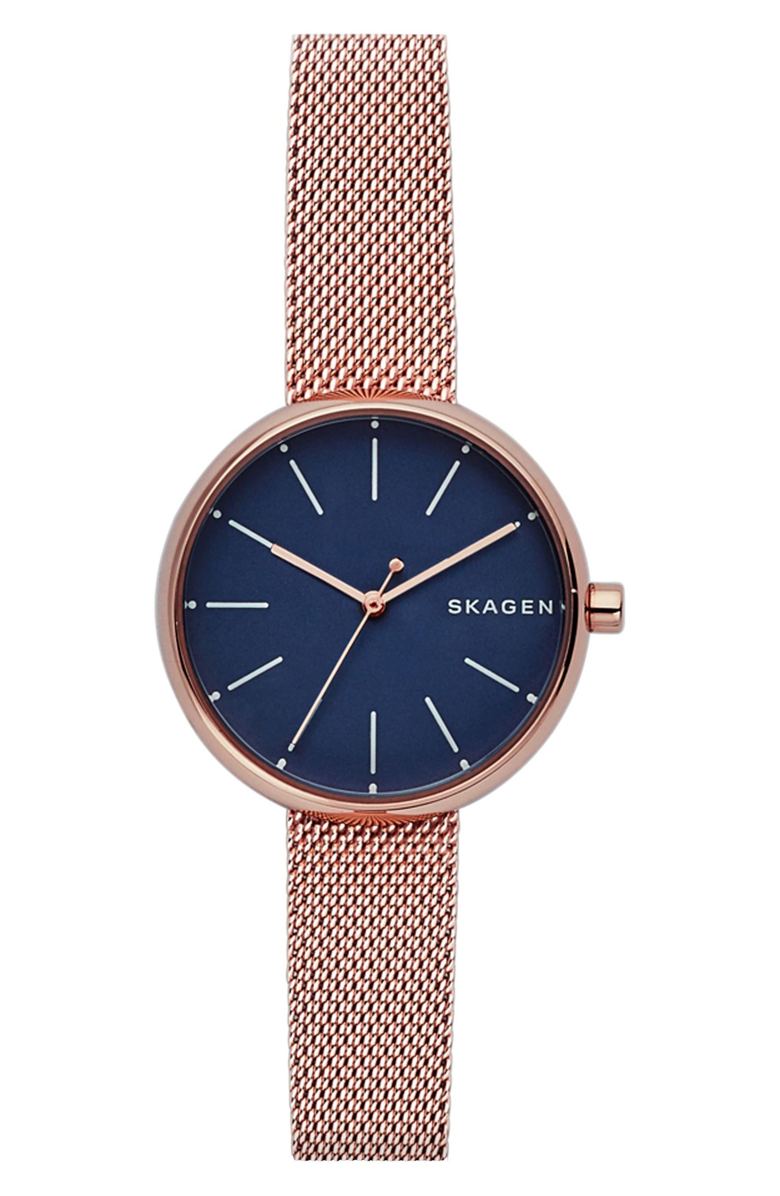 Skagen Round Mesh Strap Watch, 30mm