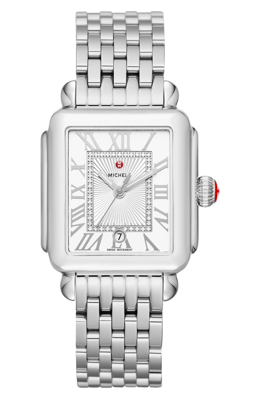 Deco Madison Diamond Dial Watch Case, 33mm x 35mm,                             Alternate thumbnail 2, color,                             Silver