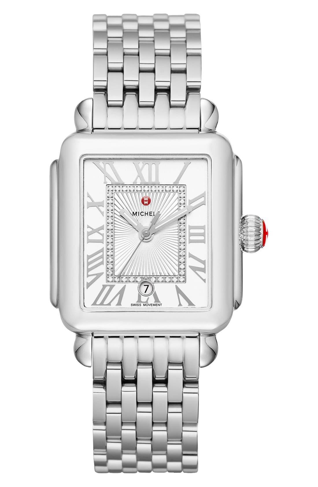 Alternate Image 2  - MICHELE Deco Madison Diamond Dial Watch Case, 33mm x 35mm
