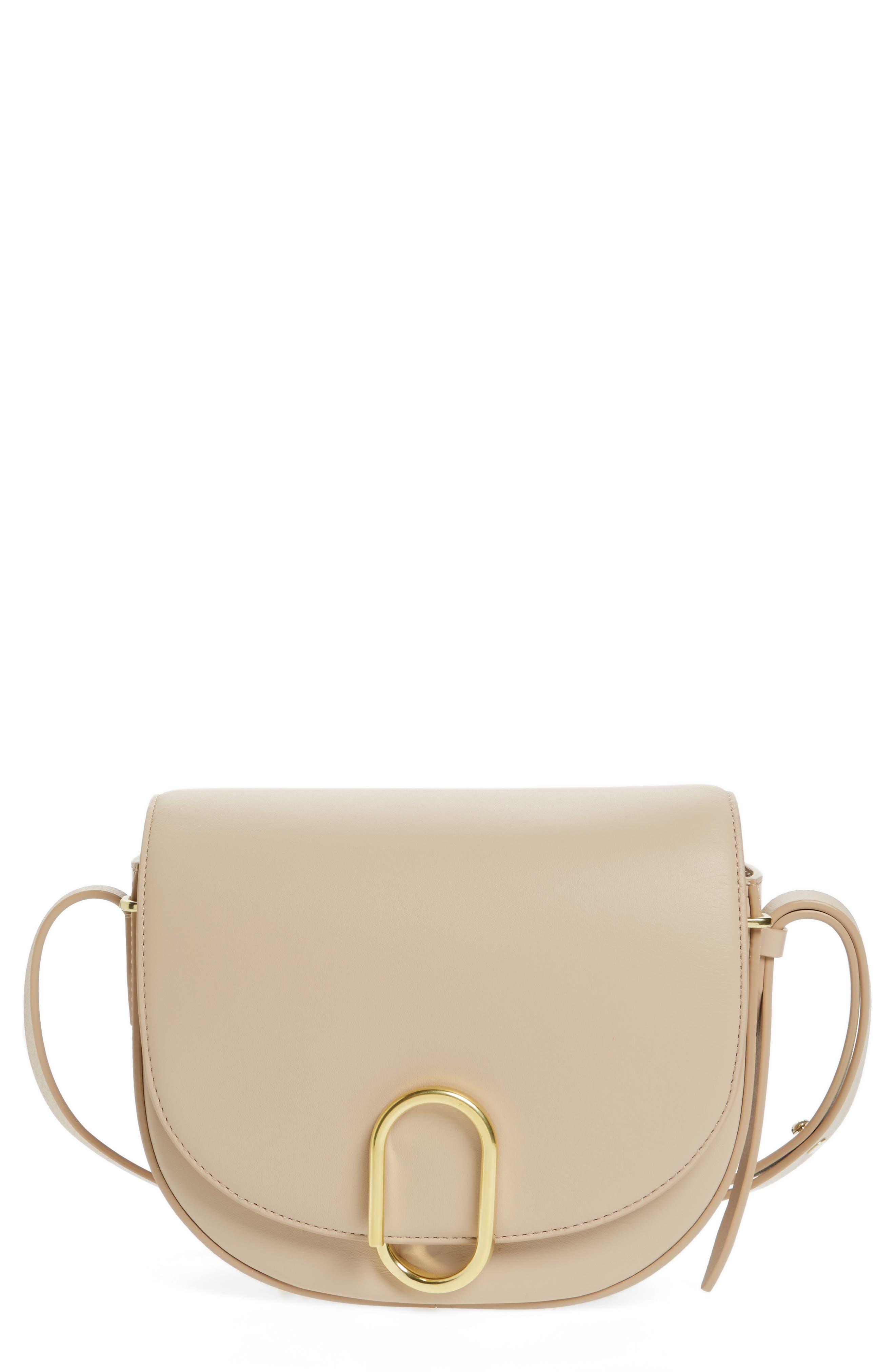 Alix Leather Saddle Bag,                         Main,                         color, Cashew/ Gold