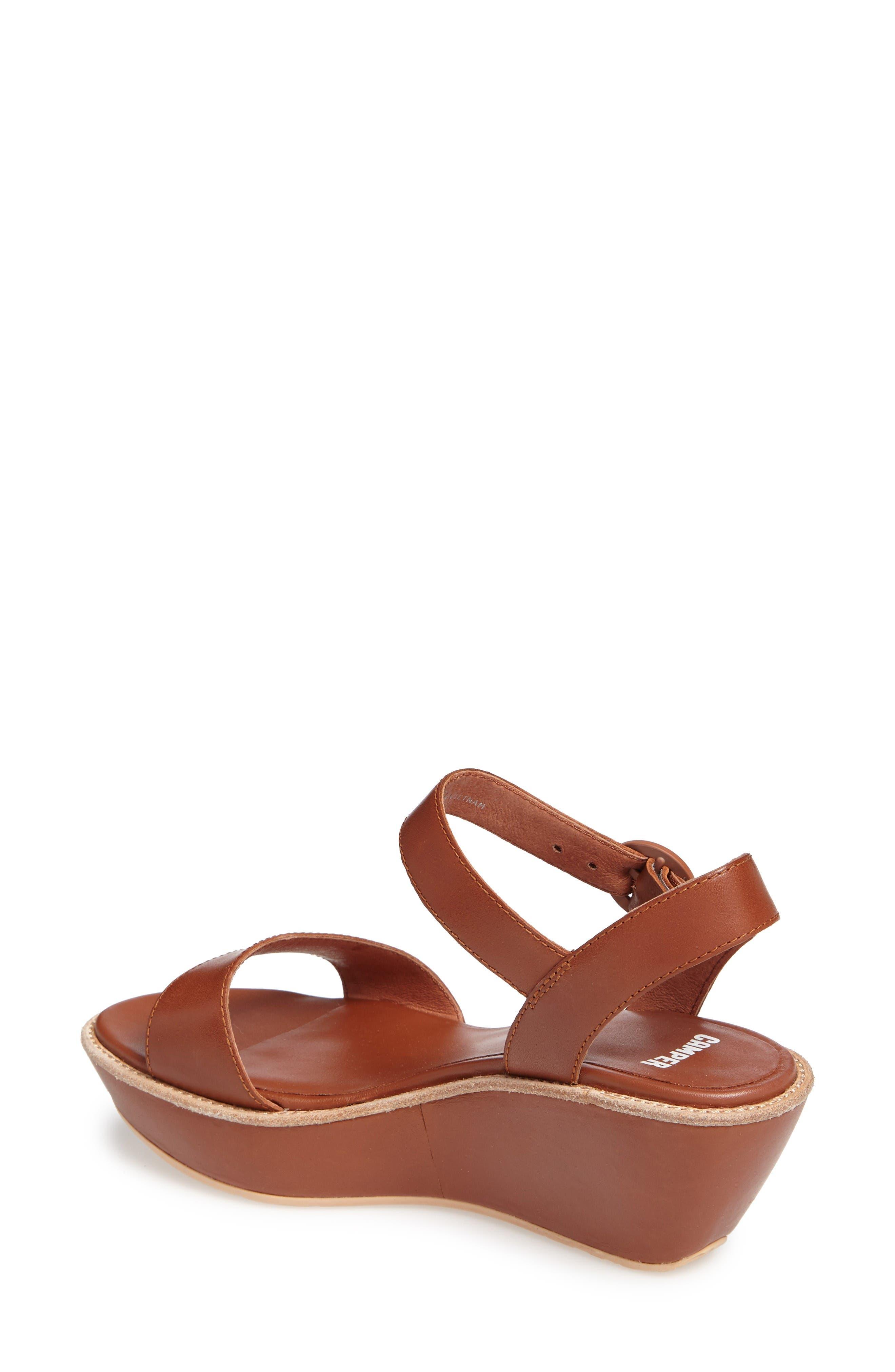 'Damas' Wedge Sandal,                             Alternate thumbnail 2, color,                             Brown Leather