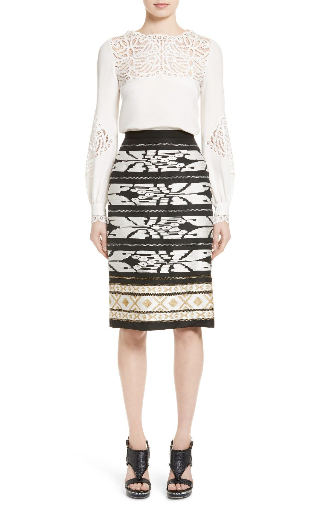 Alternate Image 6  - Oscar de la Renta Ikat Embroidered Pencil Skirt
