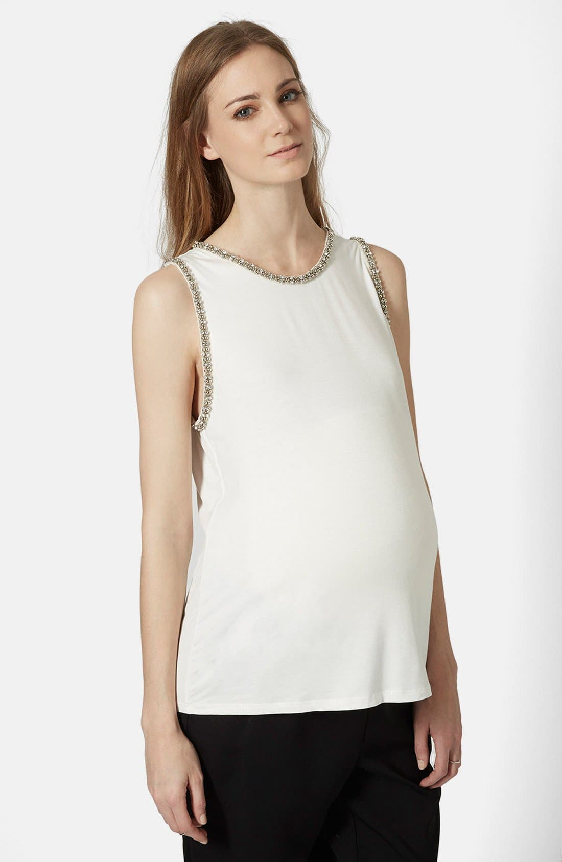 Main Image - Topshop Gem Embellished Maternity Tank Top