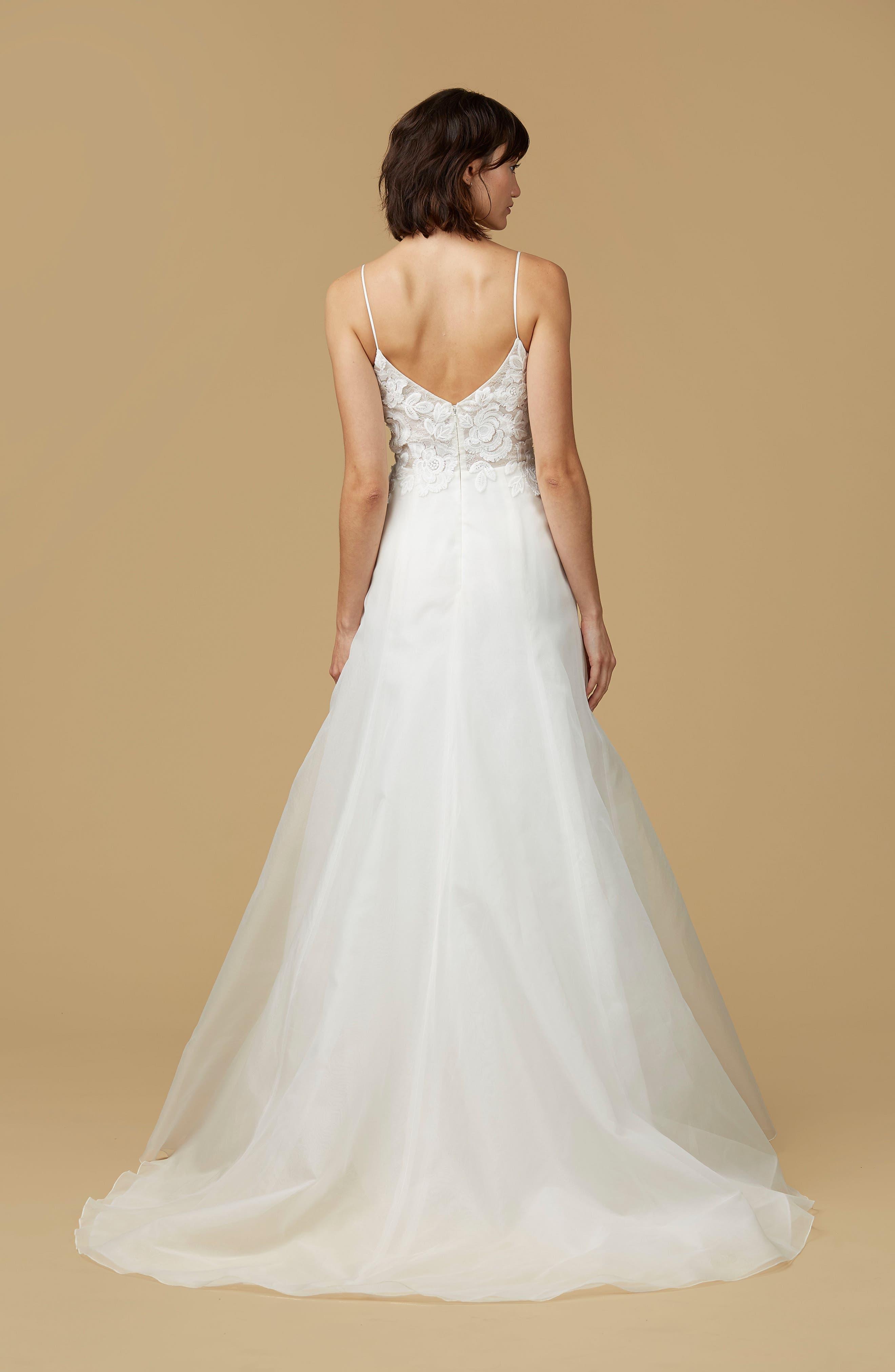 Alternate Image 2  - nouvelle AMSALE Viv Lace Appliqué Silk Organza A-Line Gown
