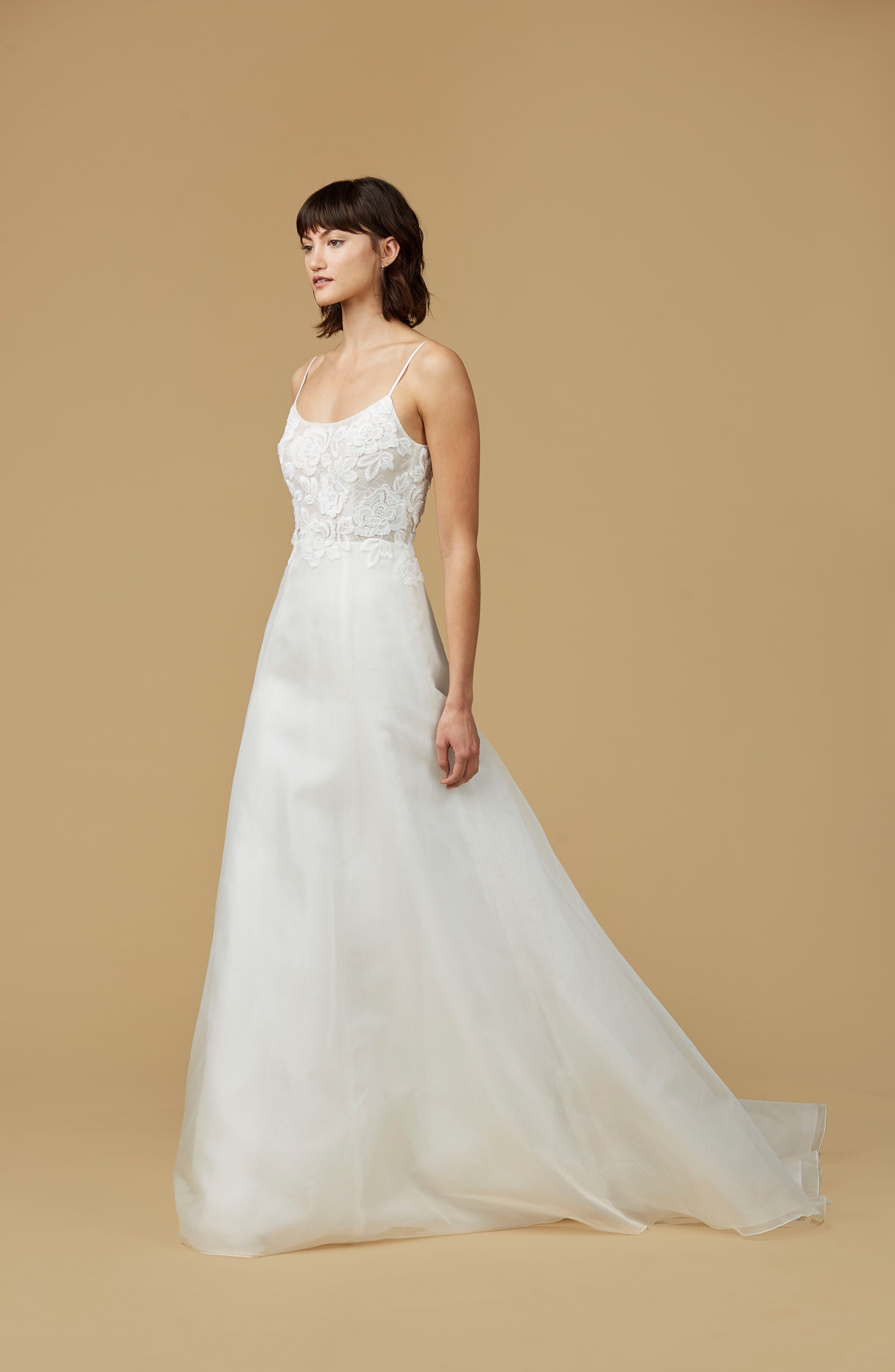 Alternate Image 3  - nouvelle AMSALE Viv Lace Appliqué Silk Organza A-Line Gown