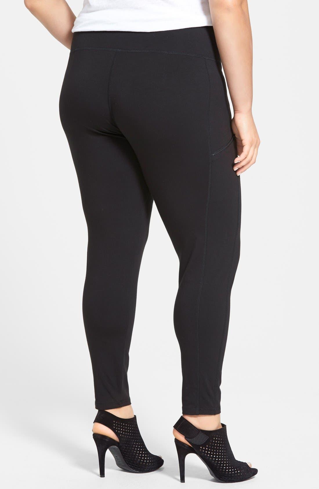 Skinny Knit Pants,                             Alternate thumbnail 2, color,                             Black