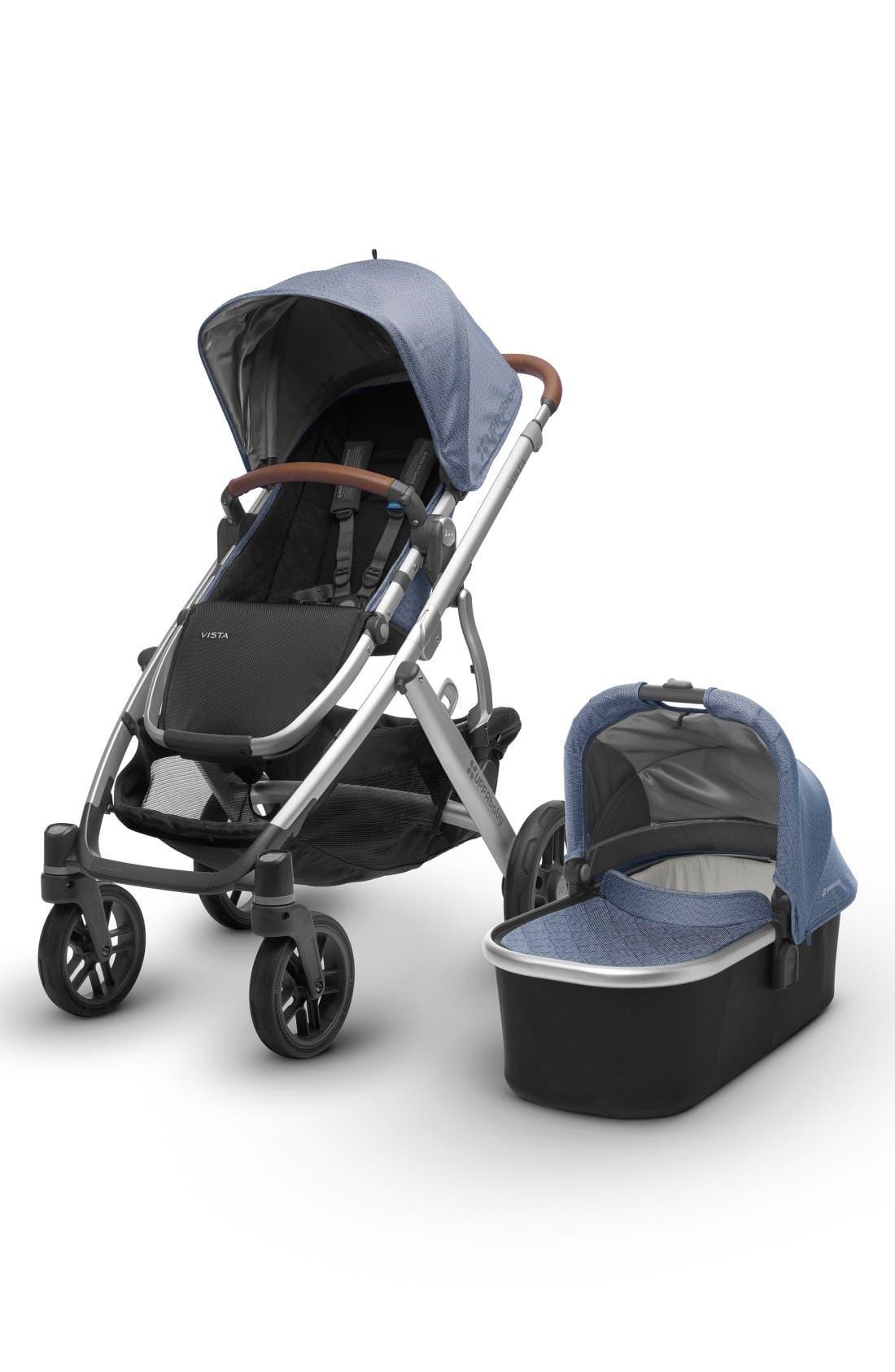 2017 VISTA Henry Aluminum Frame Convertible Stroller with Bassinet & Toddler Seat,                         Main,                         color, Blue Marl