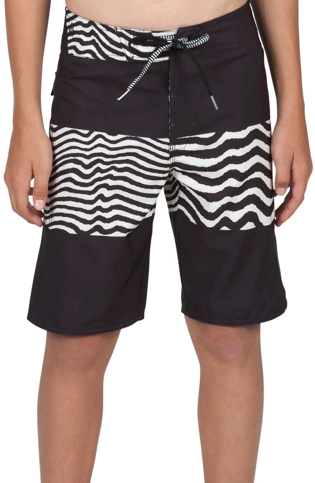Macaw Mod Board Shorts,                             Main thumbnail 1, color,                             Black/ White