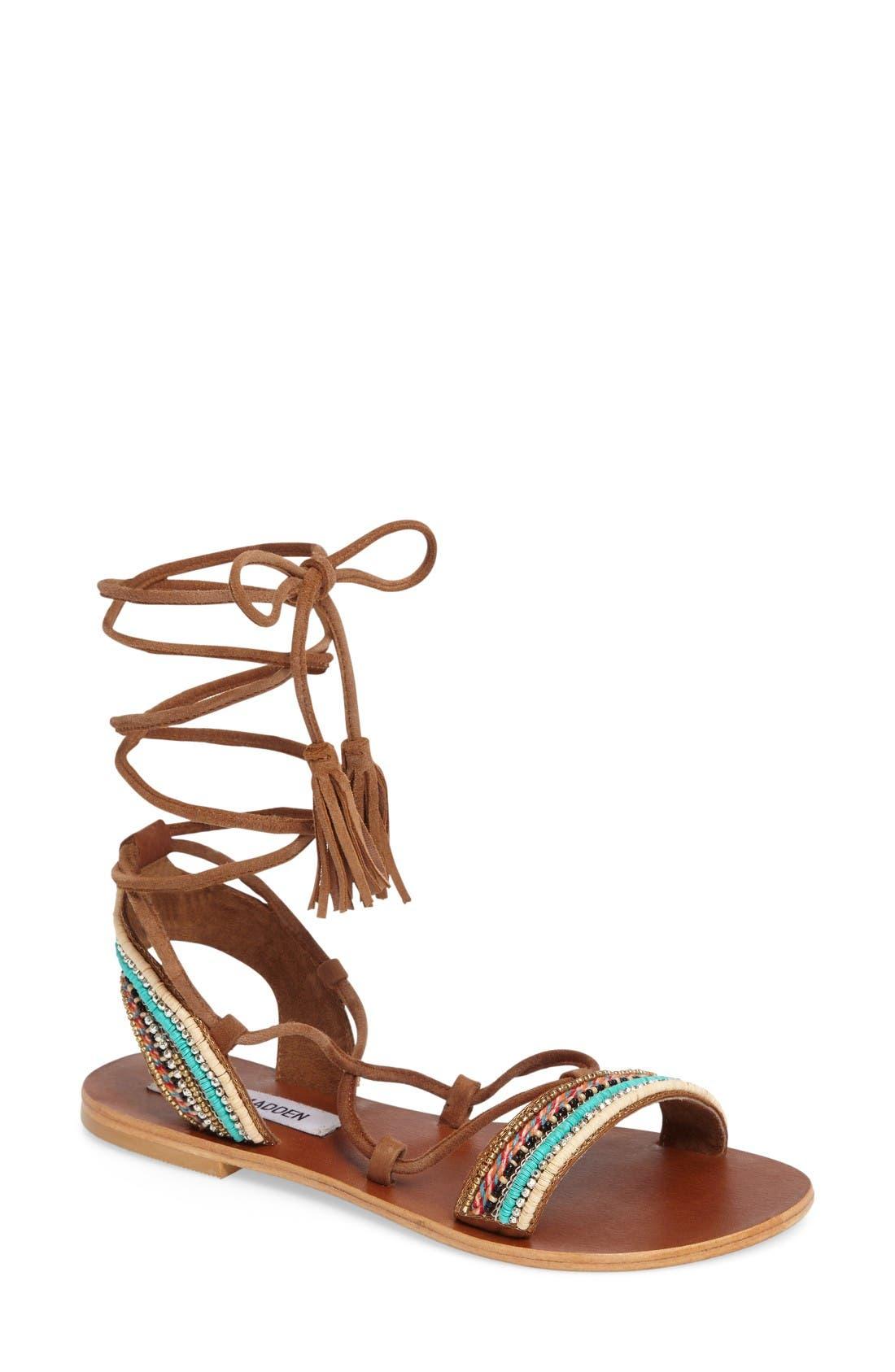 Orva Embellished Ghillie Wrap Sandal,                         Main,                         color, Natural Multi