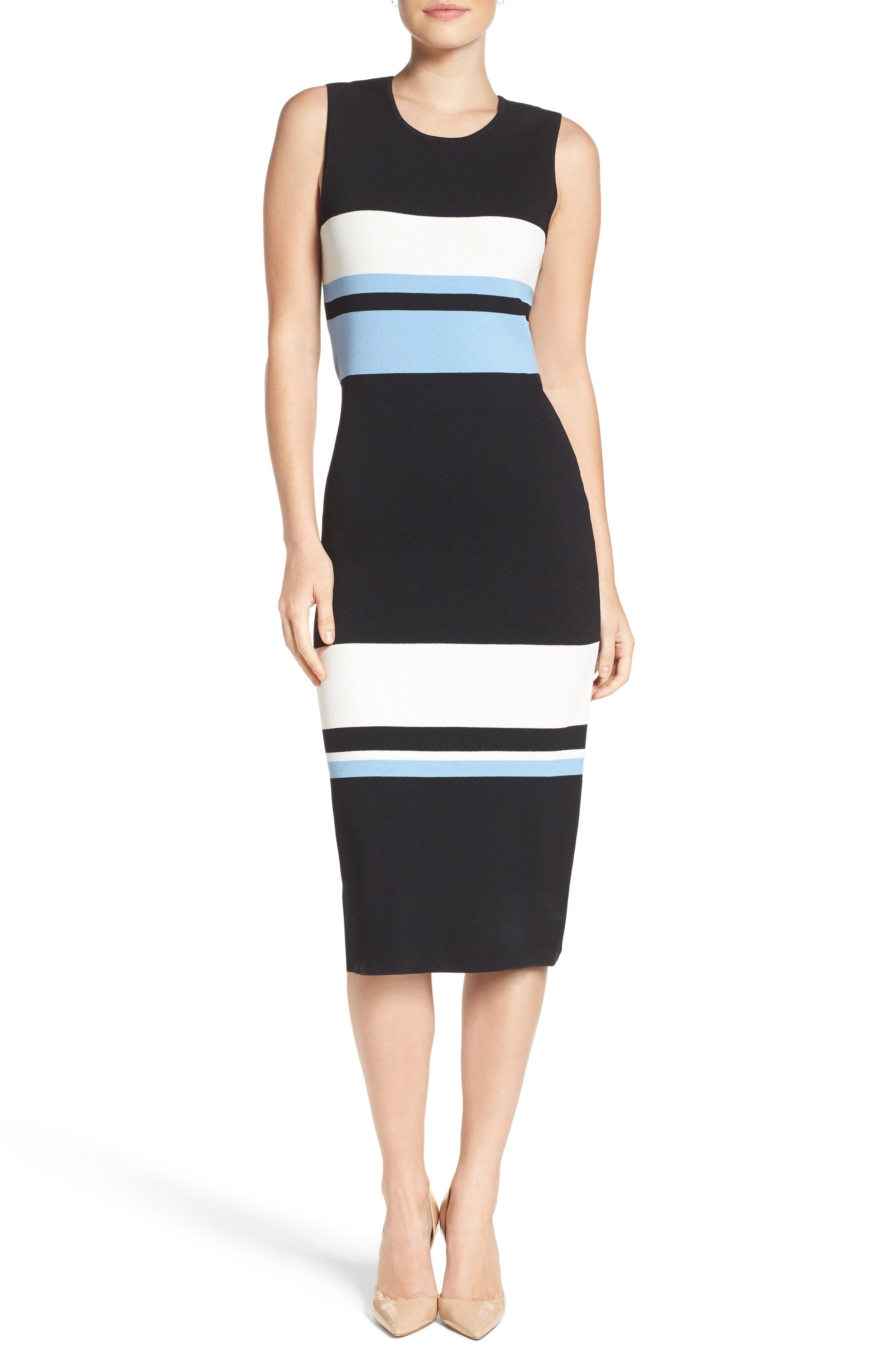 Color Block Midi Dress,                         Main,                         color, Blue
