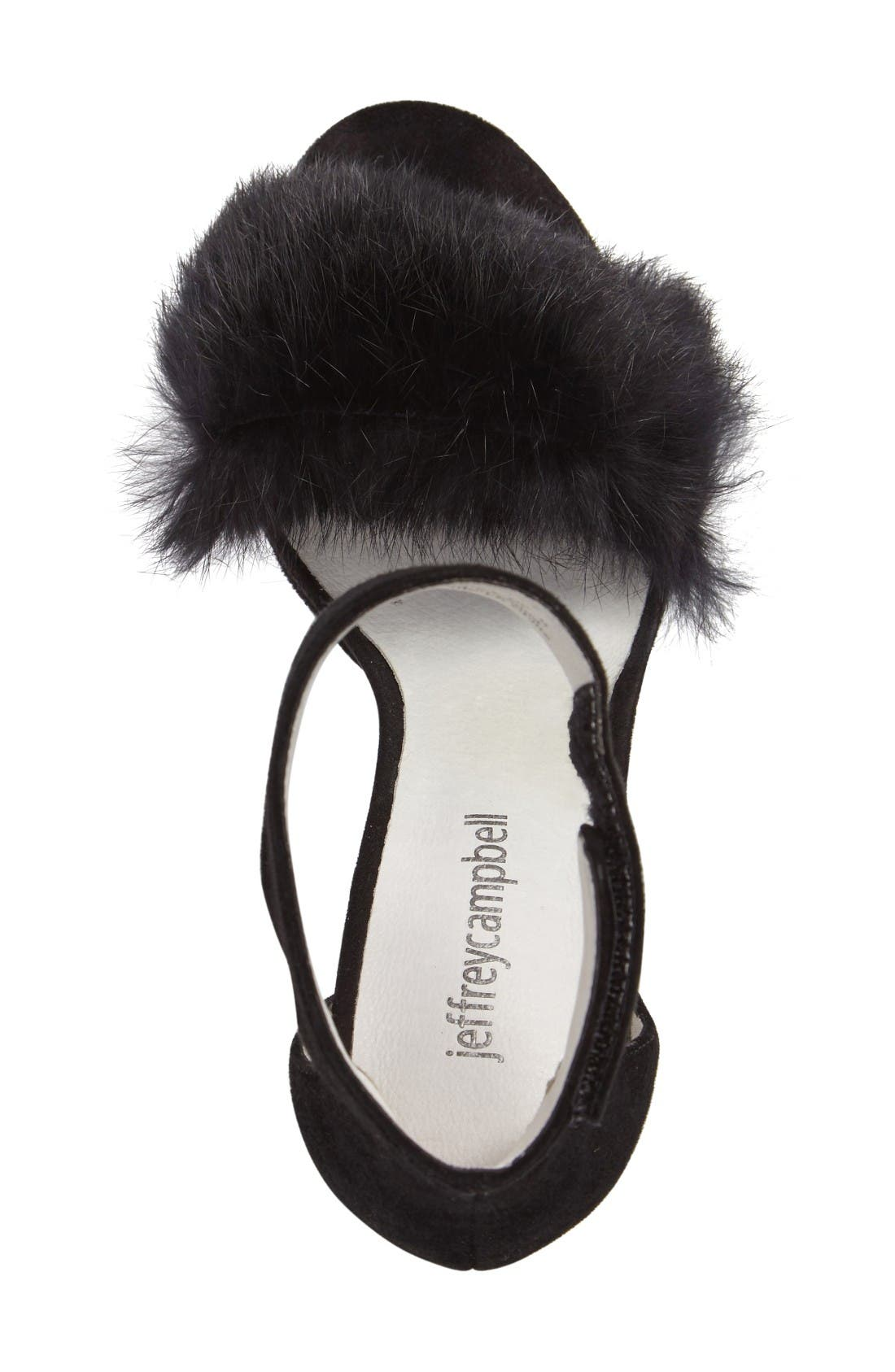 Lindsay Genuine Rabbit Fur Sandal,                             Alternate thumbnail 3, color,                             Black Suede