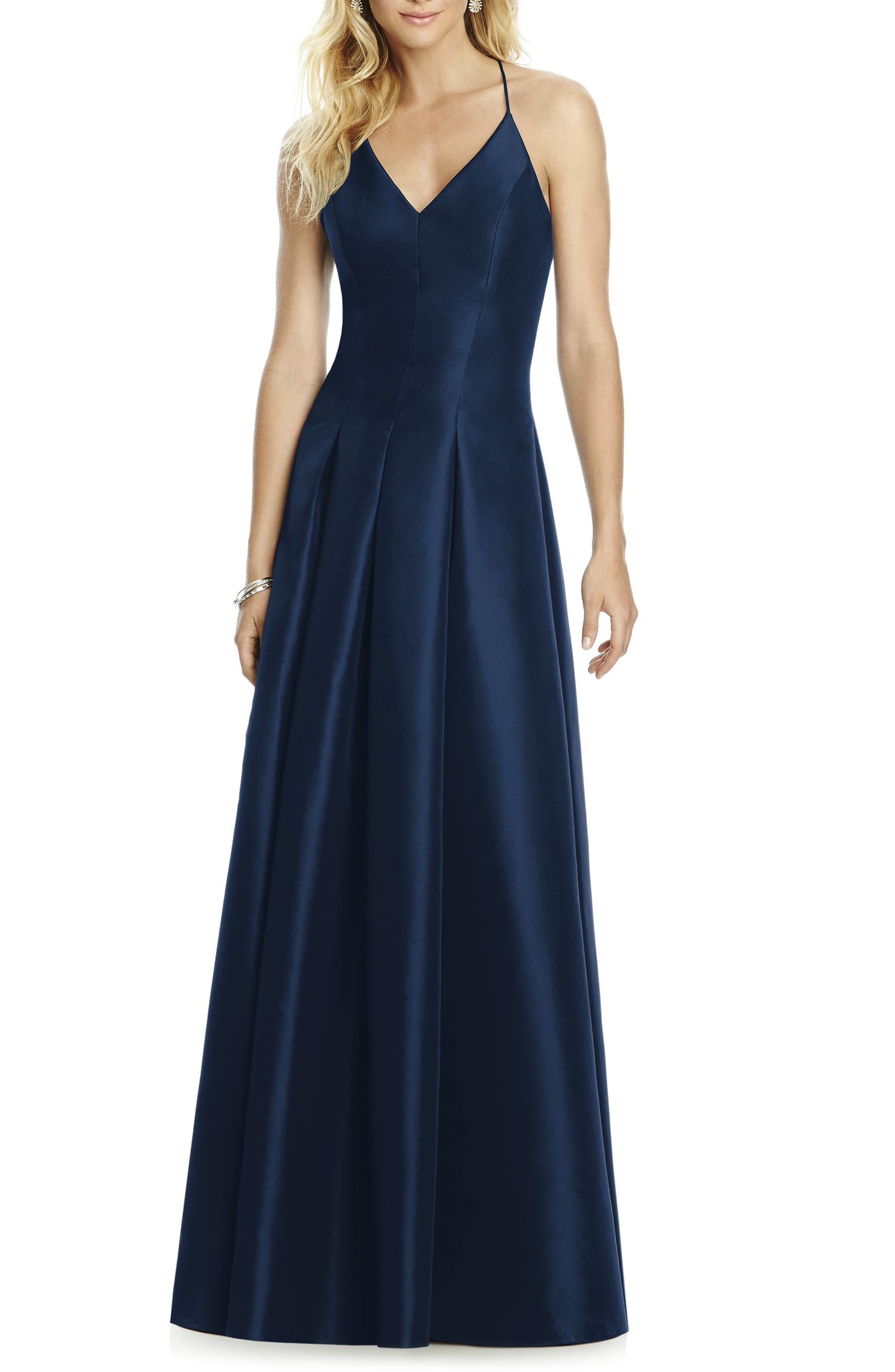 Main Image - After Six Cross Back Taffeta A-Line Gown