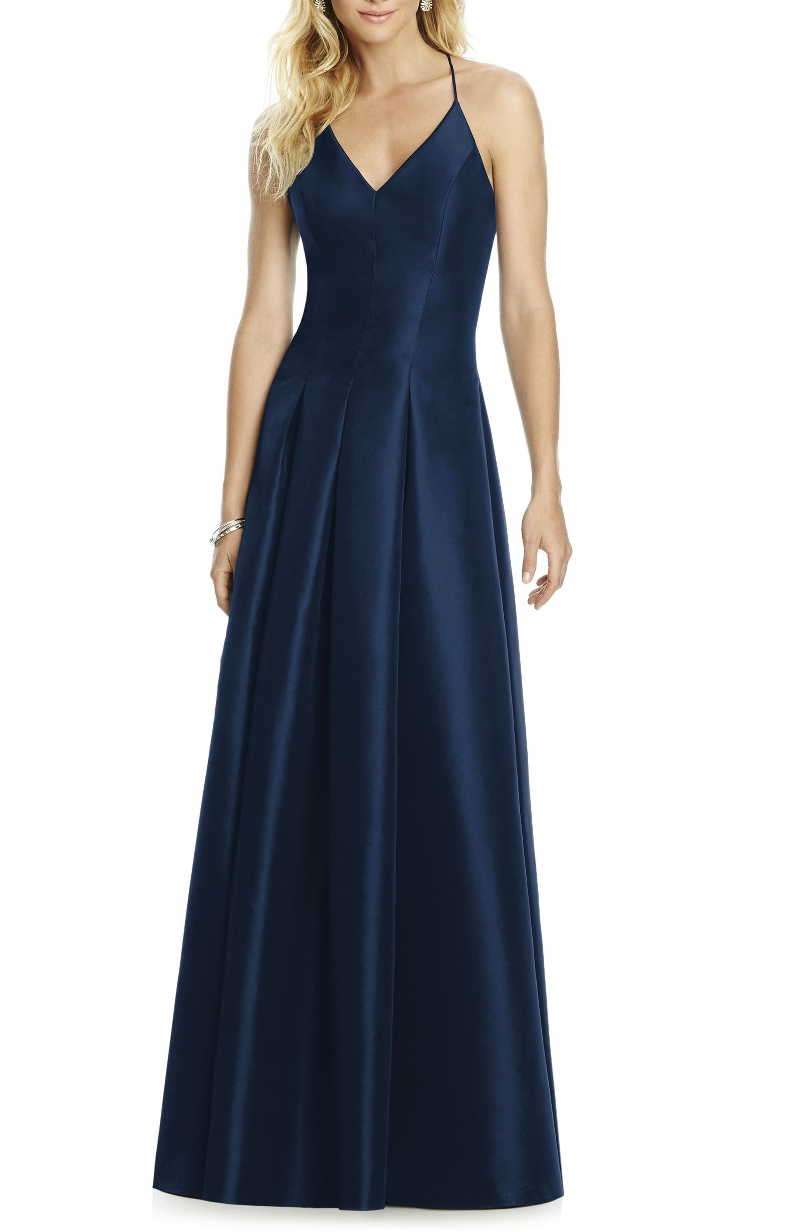 Cross Back Taffeta A-Line Gown,                         Main,                         color, Midnight