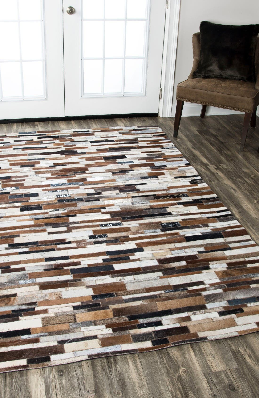 'Cumberland Pass' Hand Sewn Leather Area Rug,                             Alternate thumbnail 3, color,                             Brown/ Multi