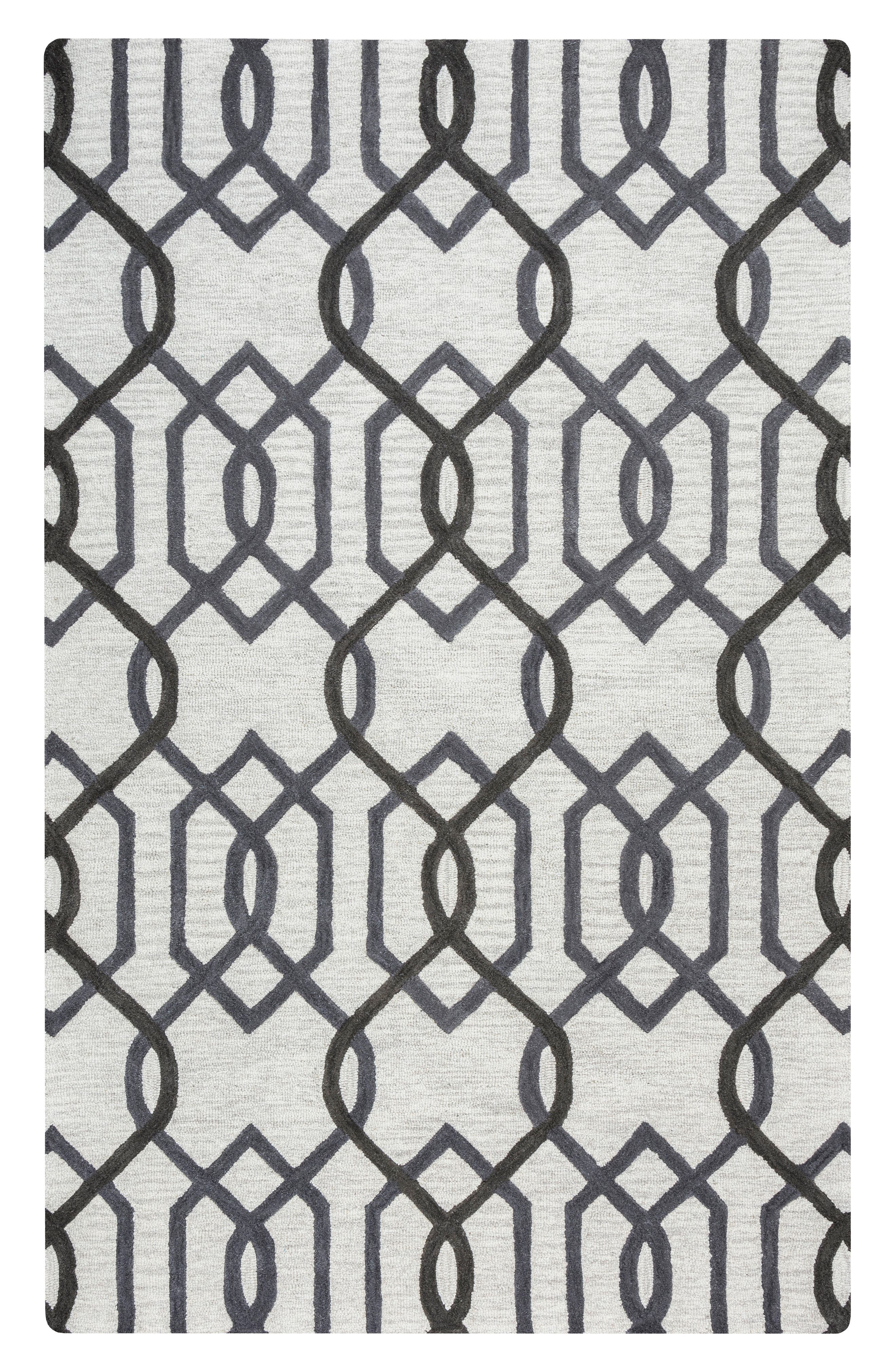 'Caterine Lines' Hand Tufted Wool Area Rug,                         Main,                         color, Grey