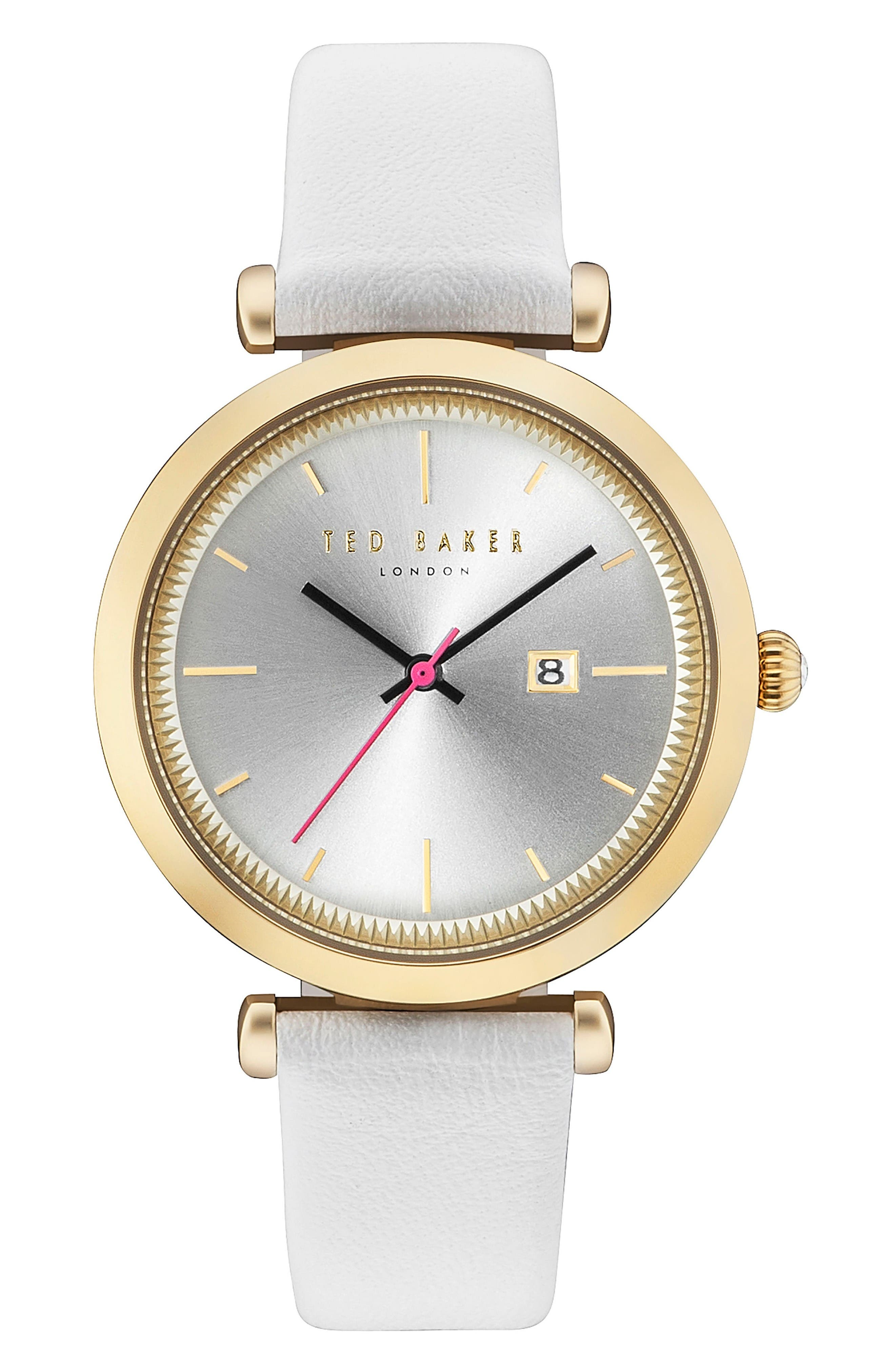 Ava Leather Strap Watch, 36mm,                         Main,                         color, White/ Silver/ Gold