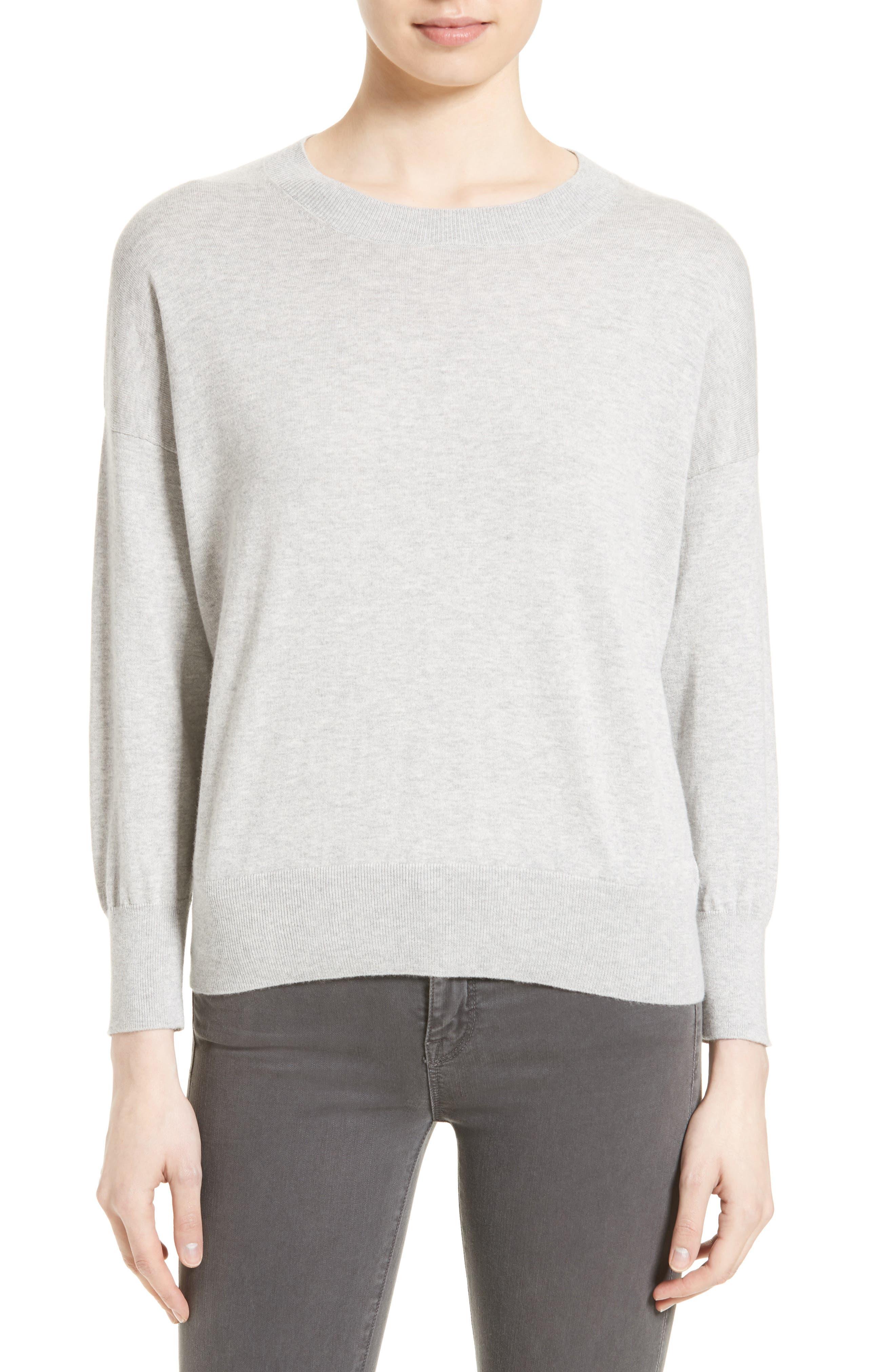 Melanie Cotton & Cashmere Pullover,                         Main,                         color, Light Heather Grey