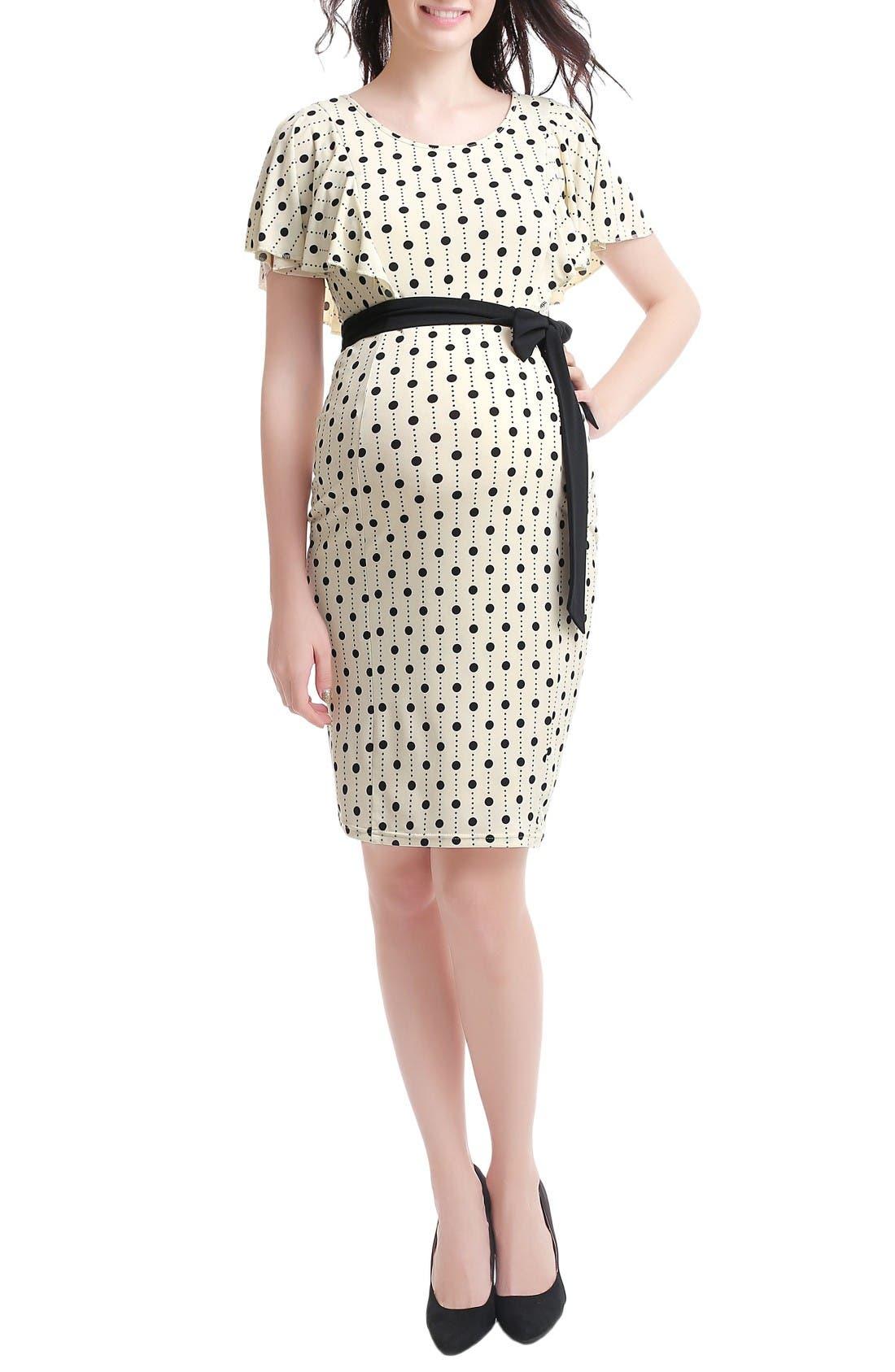 Makayla Maternity/Nursing Dress,                         Main,                         color, Beige
