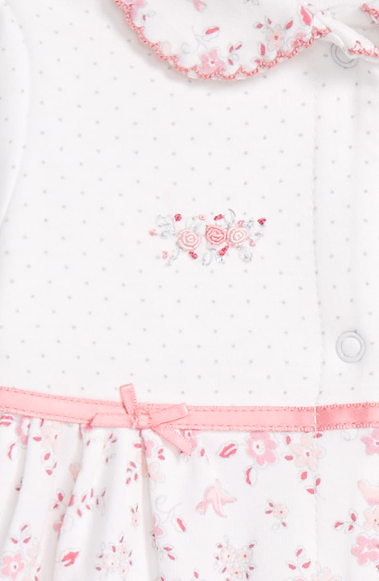 Alternate Image 2  - Little Me Bird Floral Footie & Hat Set (Baby Girls)