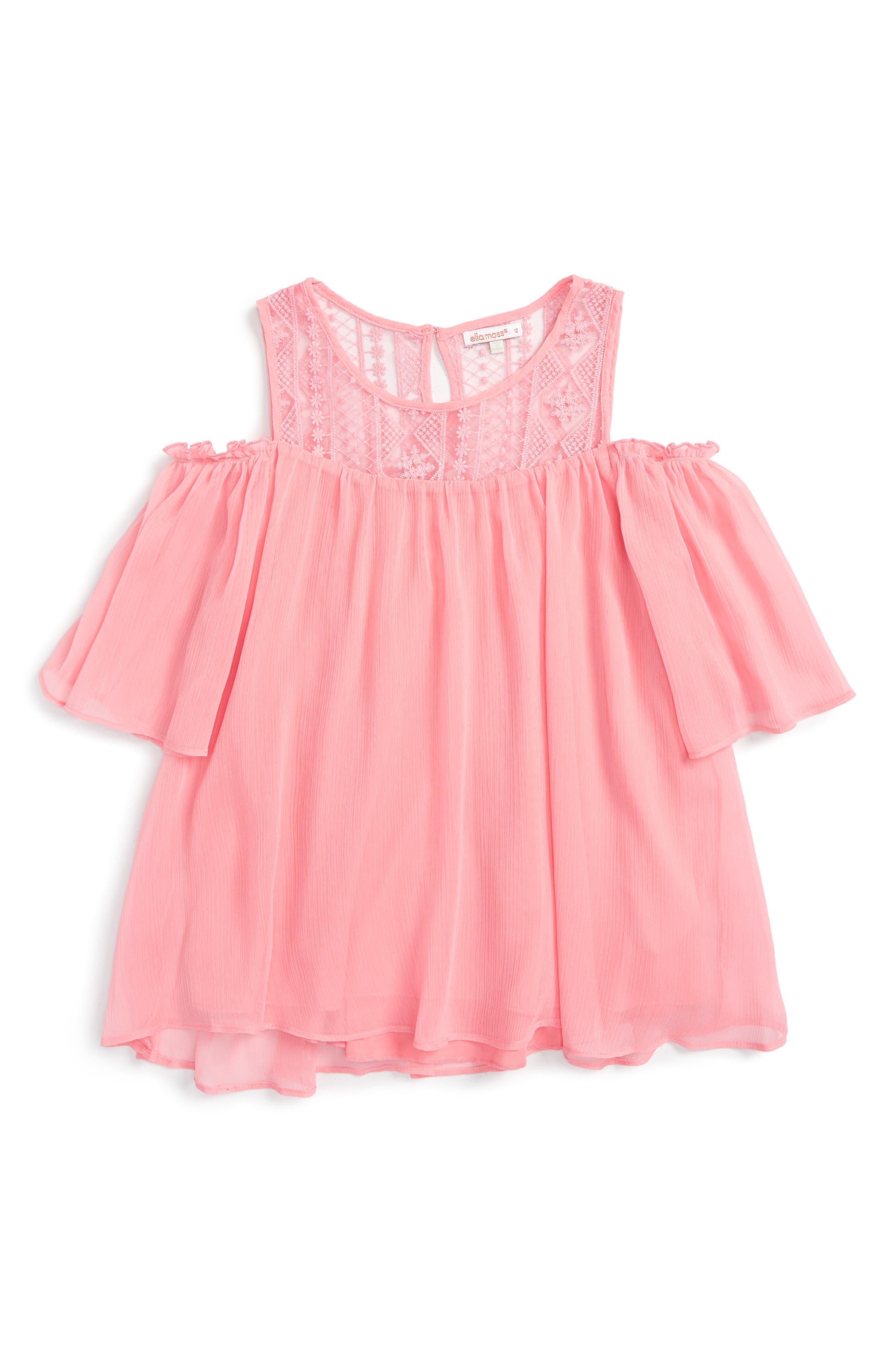 Haley Crochet Cold Shoulder Blouse,                         Main,                         color, Pink