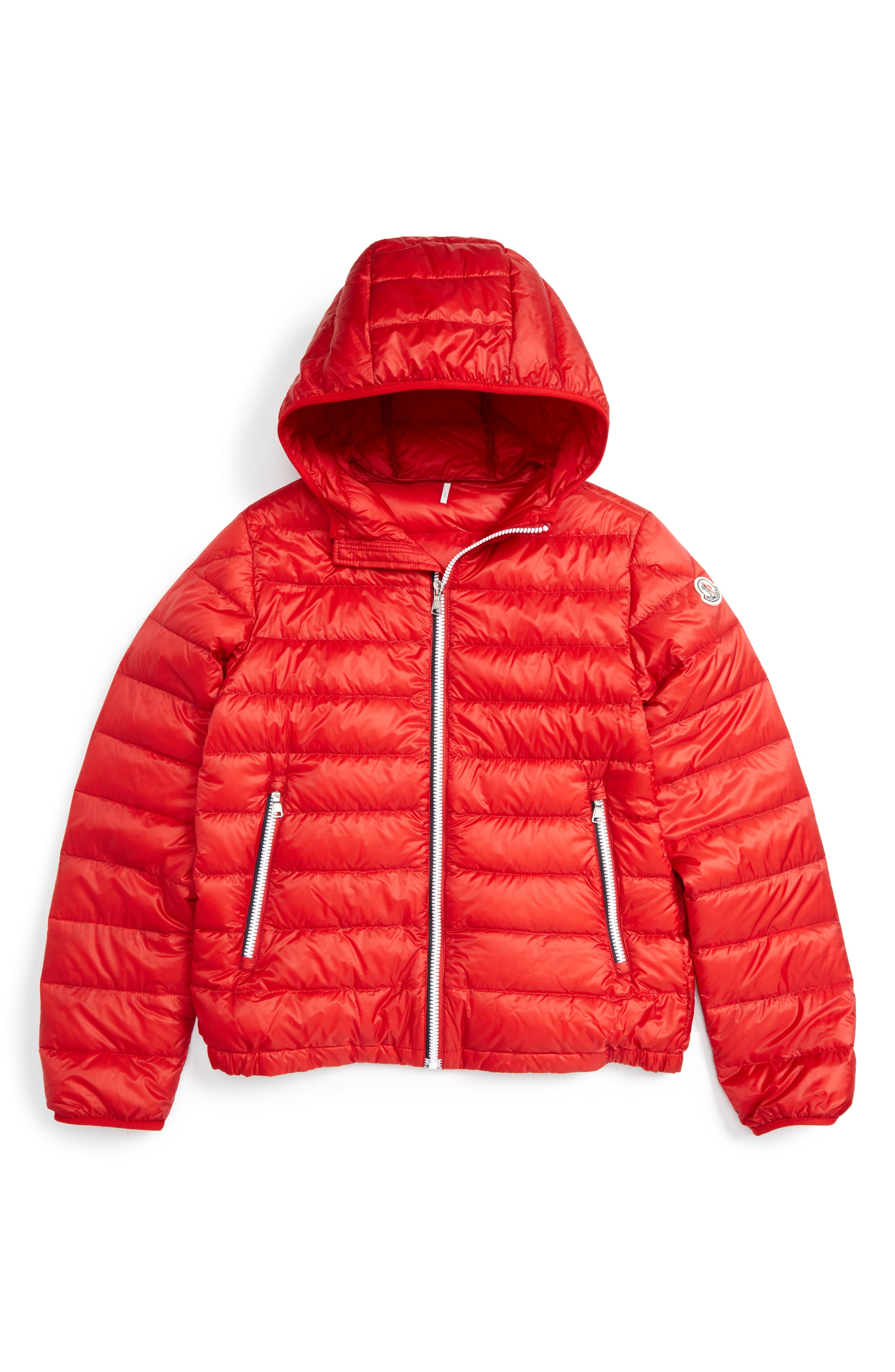 Athenes Water Resistant Hooded Down Jacket,                         Main,                         color, Red
