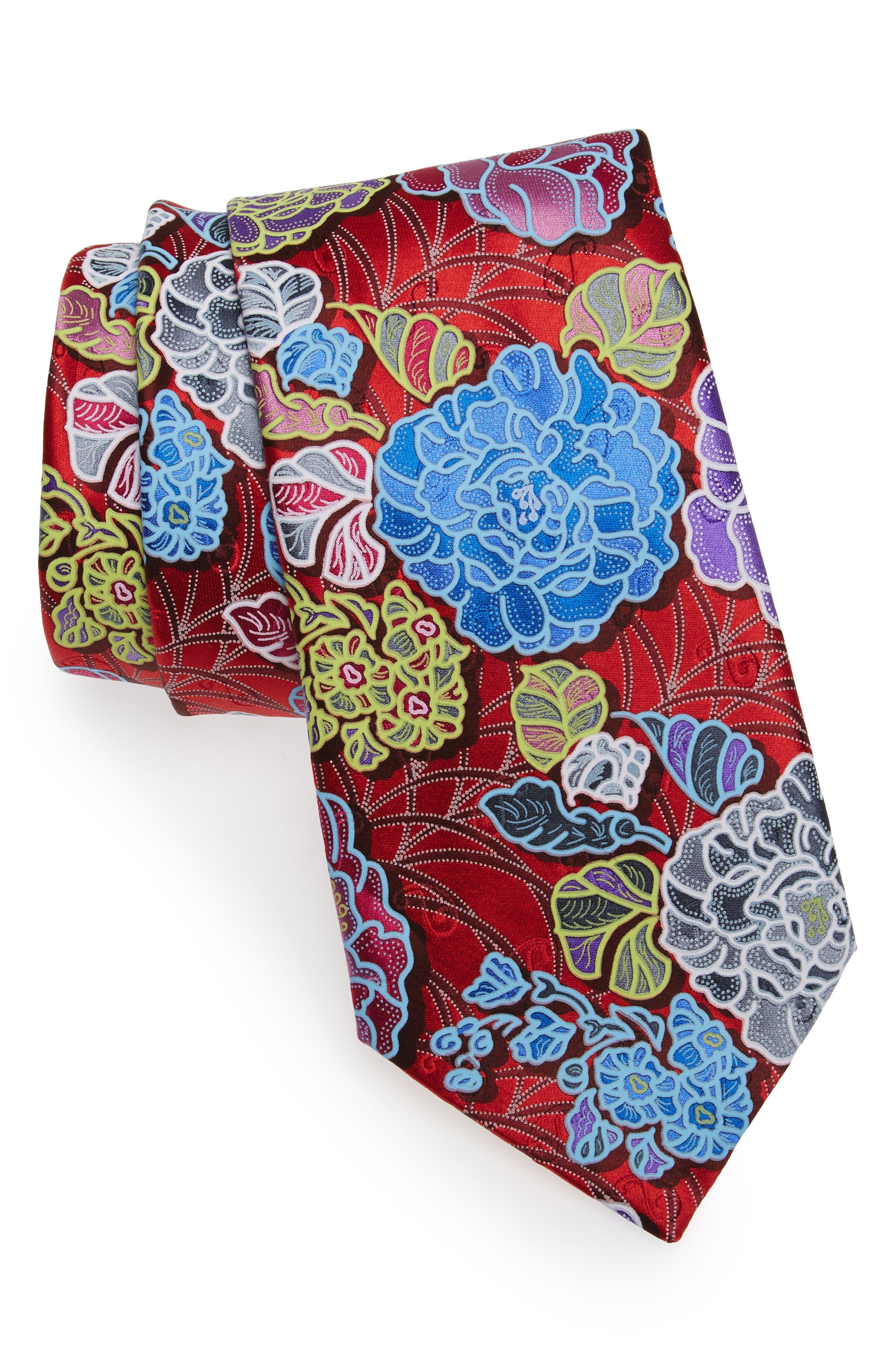 Quindici Floral Silk Tie,                         Main,                         color, Red