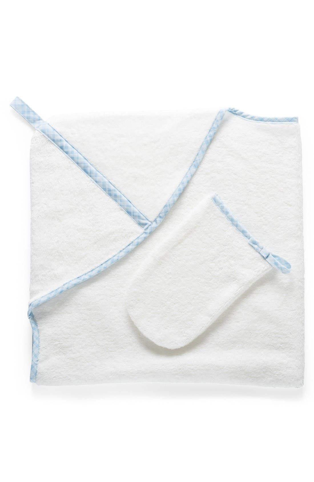 Hooded Towel & Bath Mitt Set,                         Main,                         color, Blue Checks