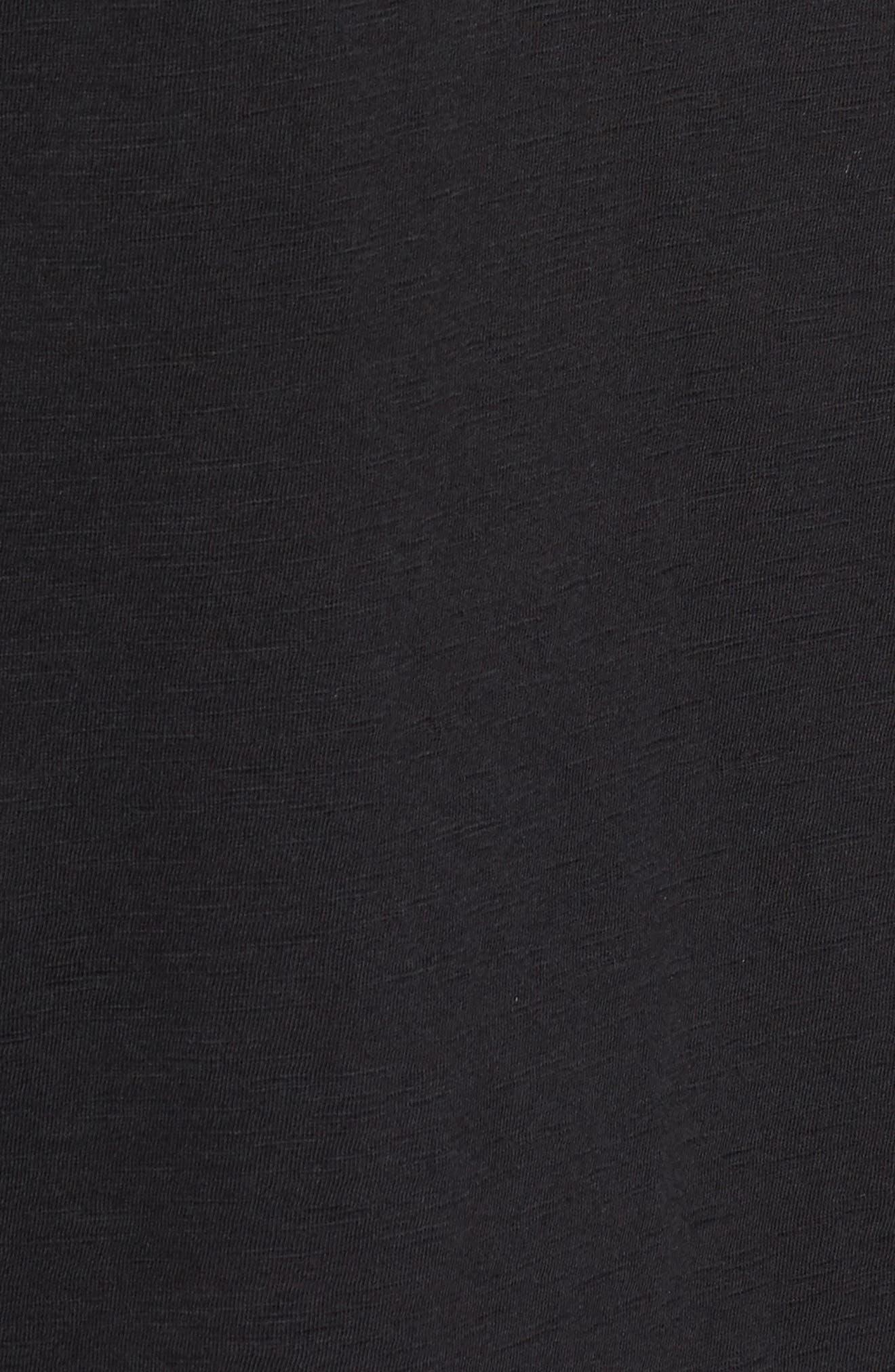 Eyelet Trim Three-Quarter Sleeve Tee,                             Alternate thumbnail 5, color,                             Black