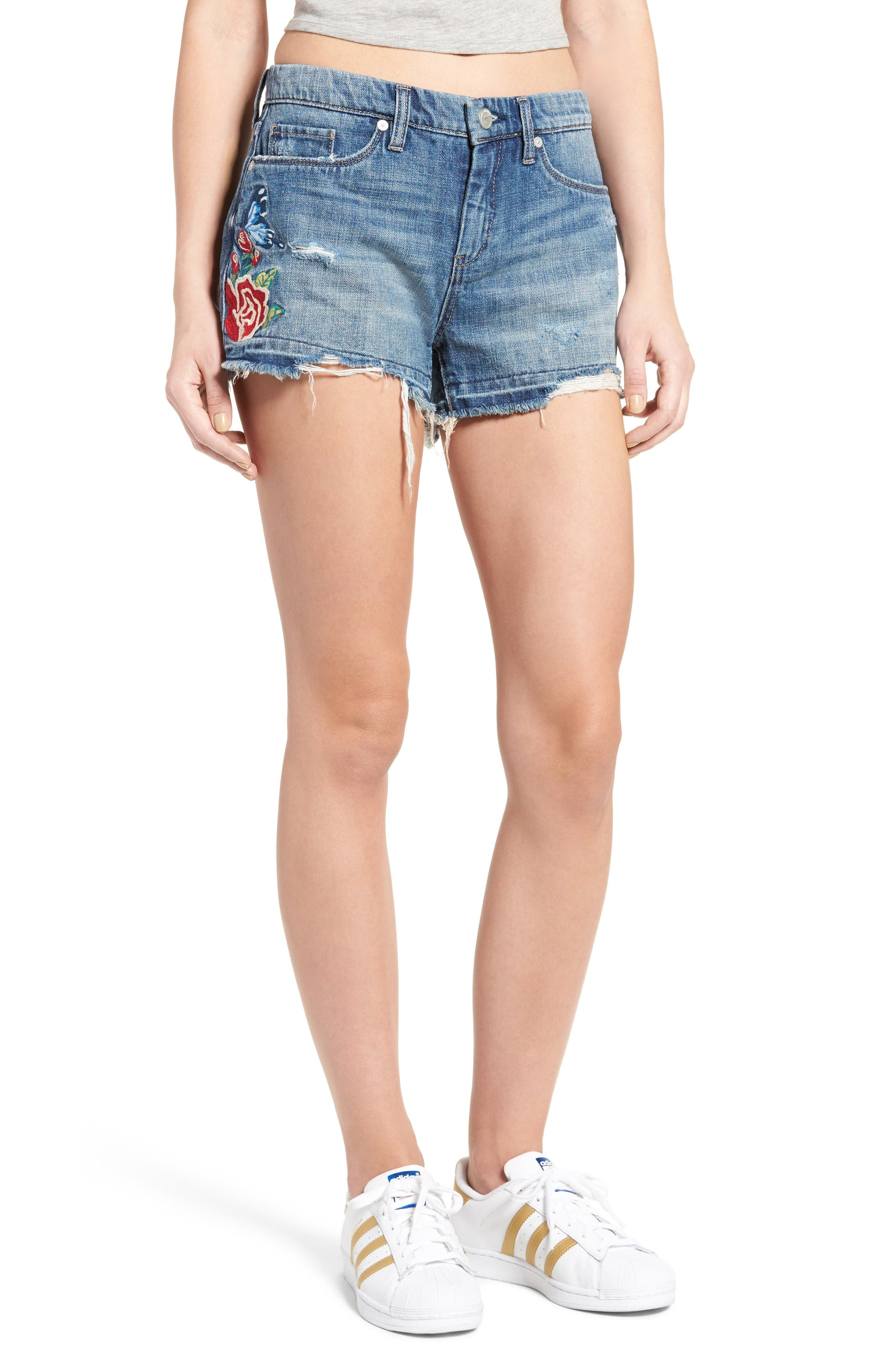 Alternate Image 1 Selected - BLANKNYC Embroidered Denim Shorts (Whild Child)
