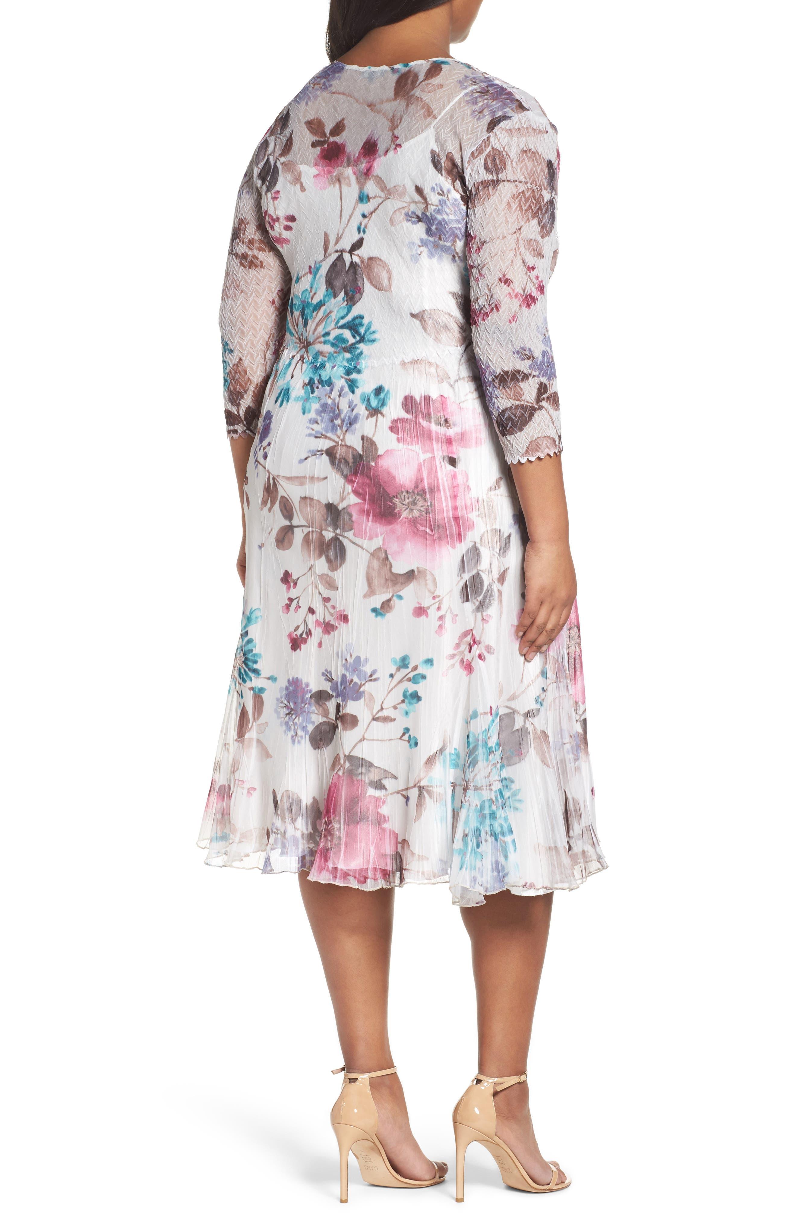 Alternate Image 2  - Komarov Floral Chiffon & Charmeuse A-Line Dress (Plus Size)