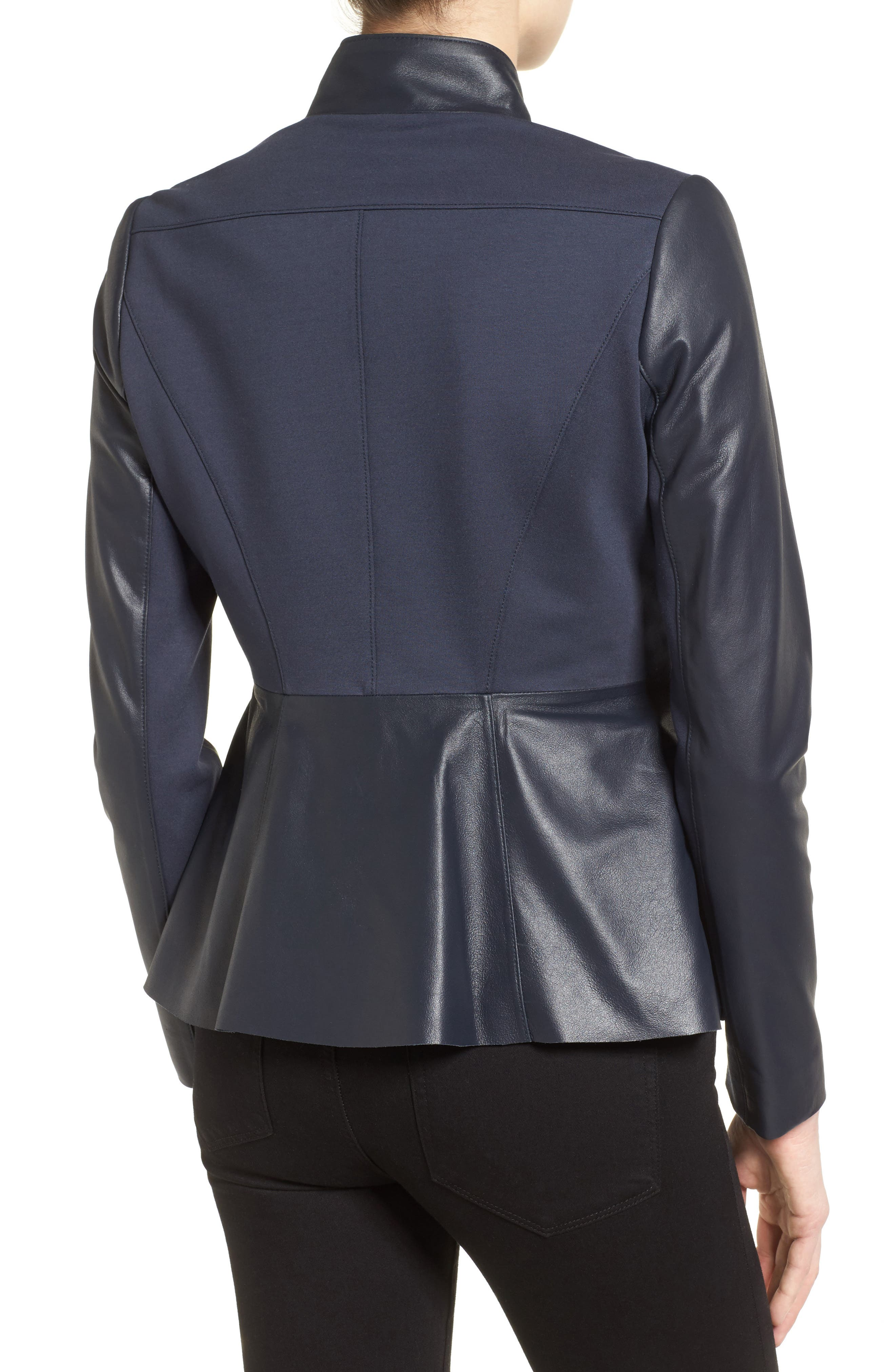 Alternate Image 2  - Via Spiga Asymmetrical Zip Leather & Ponte Jacket