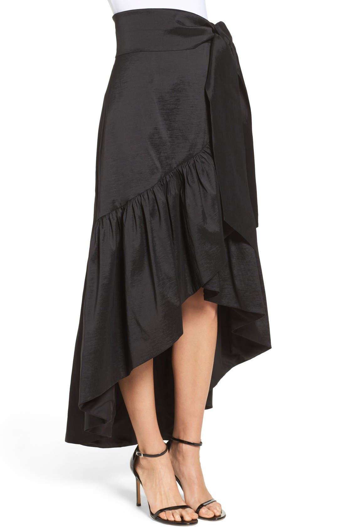 Faux Wrap Skirt,                             Alternate thumbnail 3, color,                             Black