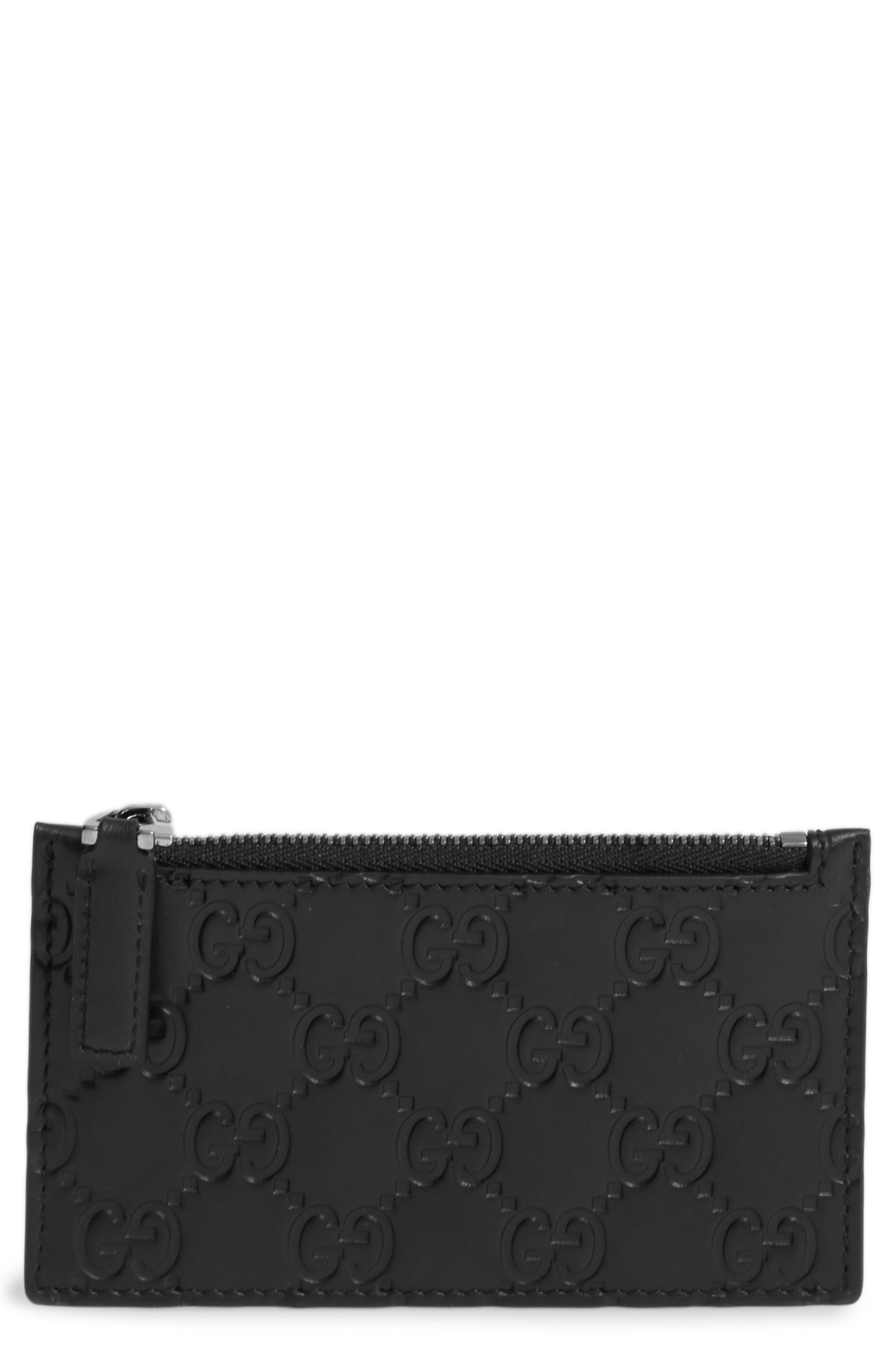 Avel Embossed Leather Card Case,                         Main,                         color, Black