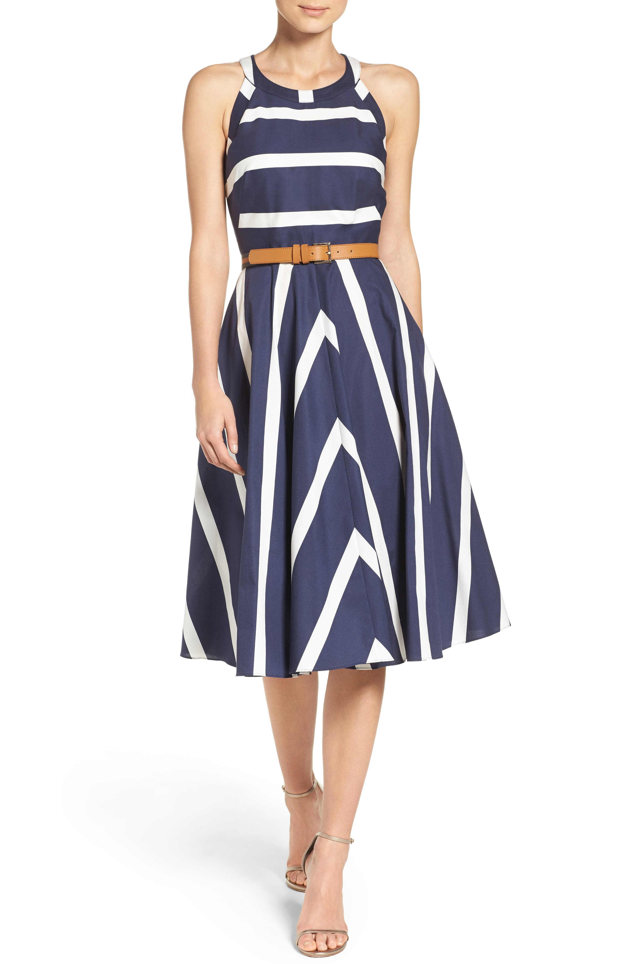 Stripe Fit & Flare Dress,                         Main,                         color, Navy/ White