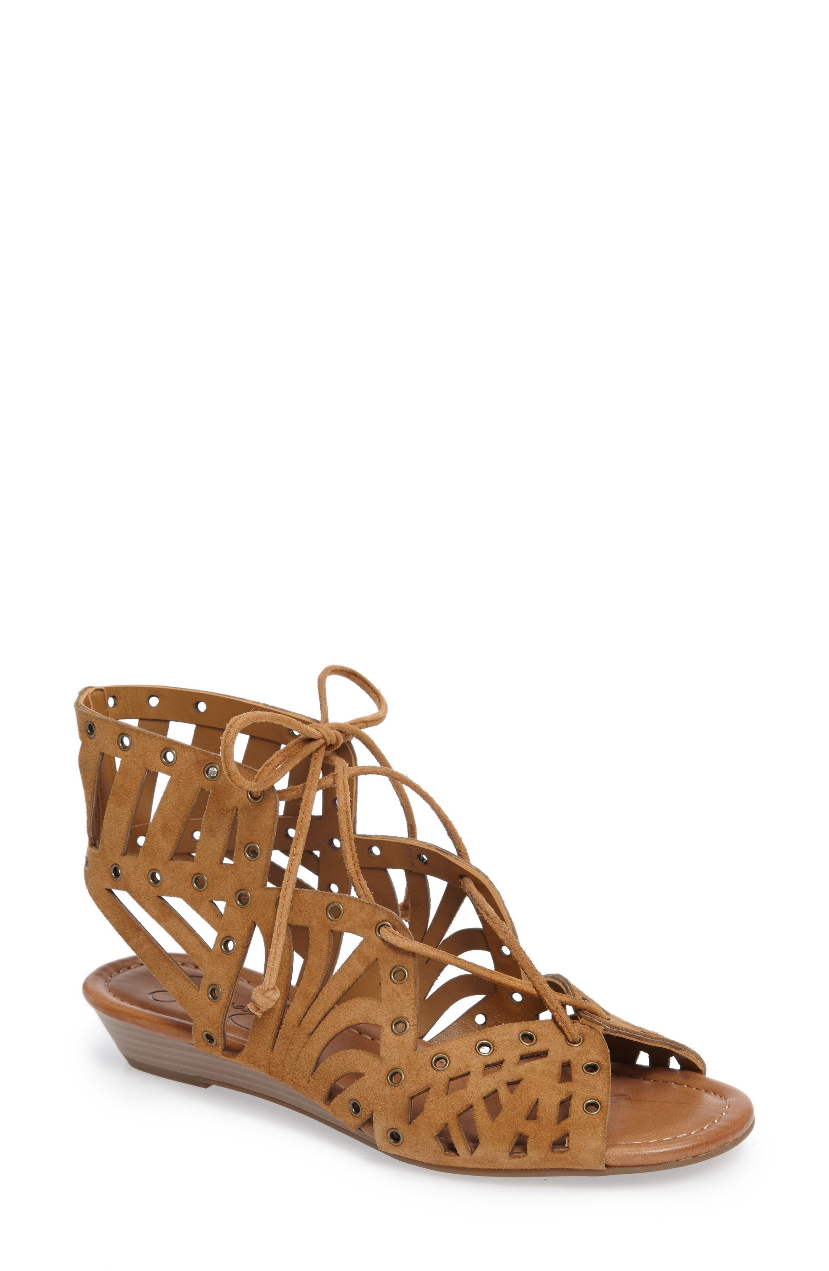 Lalaine Ghillie Lace Sandal,                         Main,                         color, Honey Brown Suede