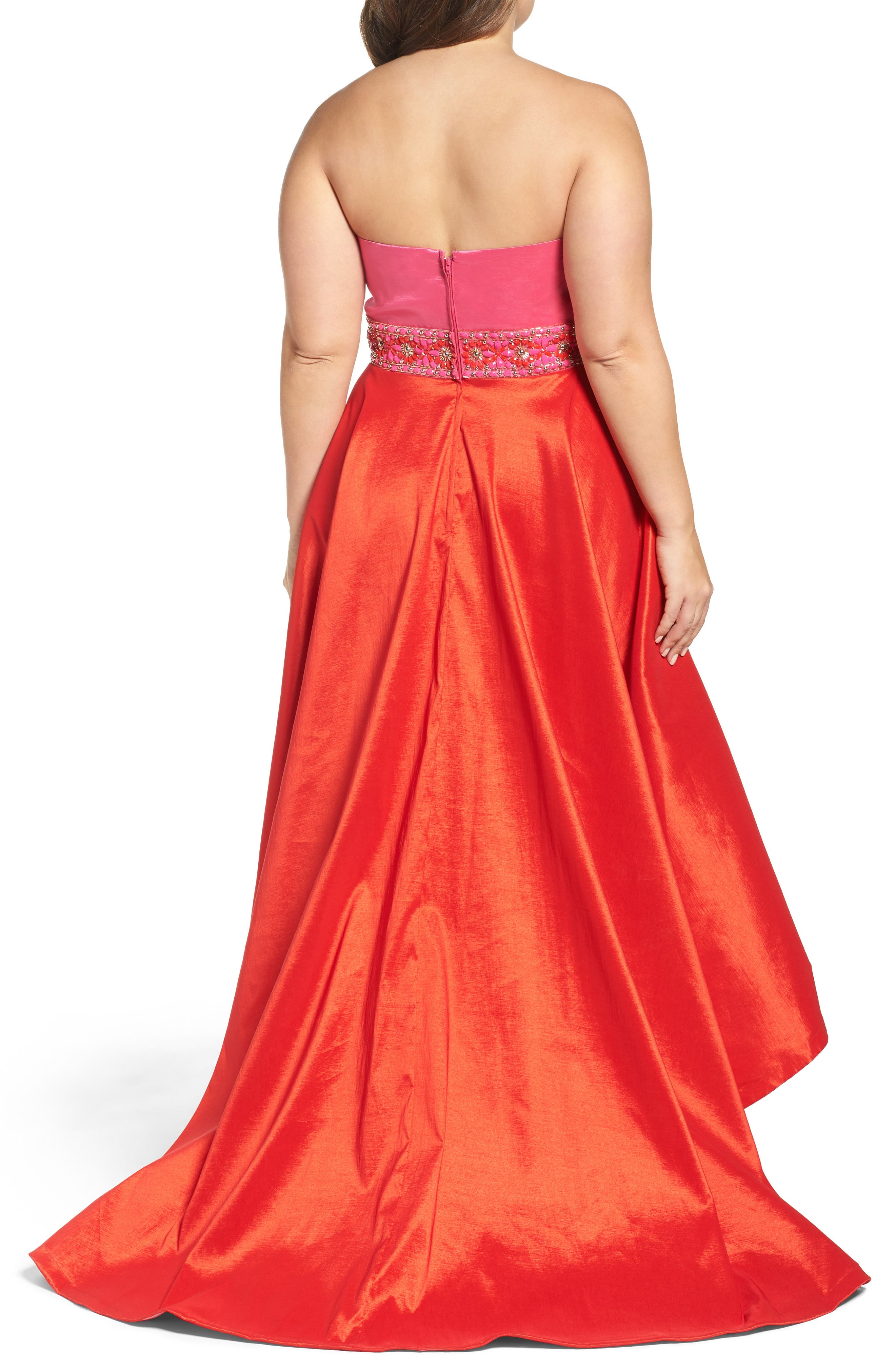 Strapless Colorblock High/Low Gown,                             Alternate thumbnail 2, color,                             Hot Pink/ Cherry