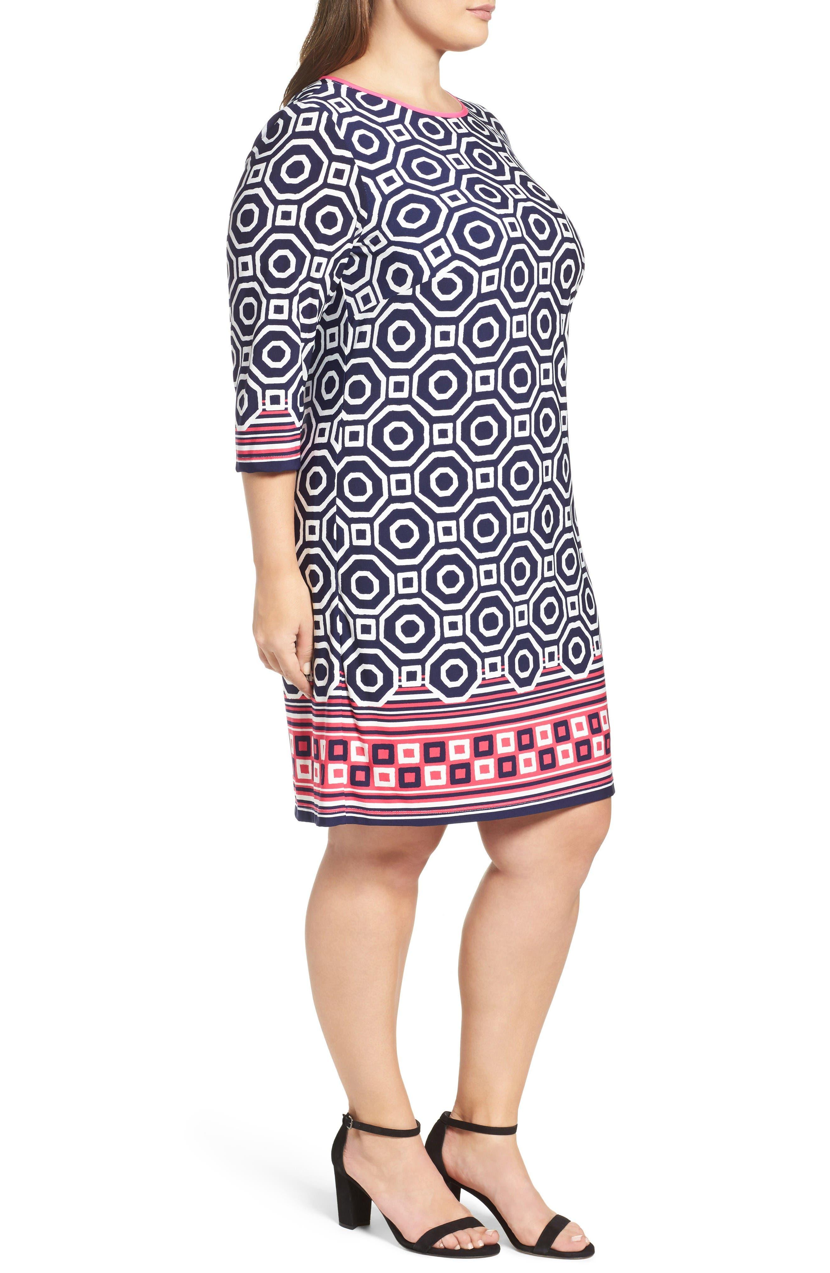 Alternate Image 3  - Eliza J Border Print Shift Dress (Plus Size)