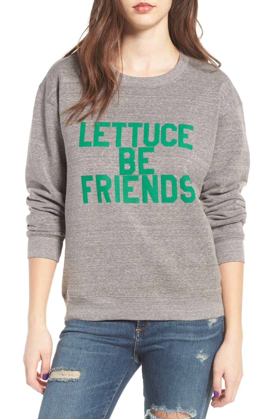 Lettuce Be Friends Sweatshirt,                             Main thumbnail 1, color,                             Heather Grey